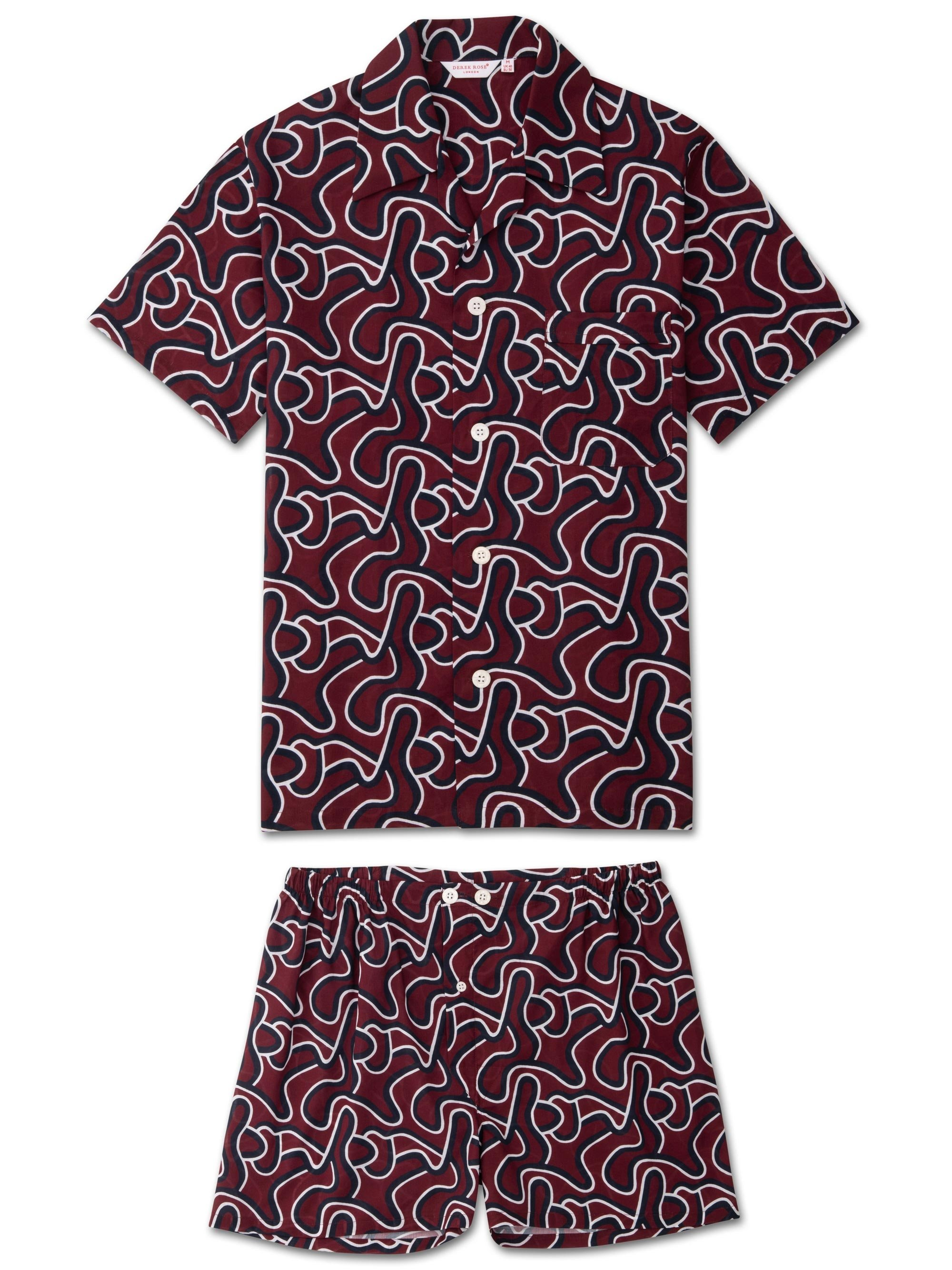 Men's Short Pyjamas Ledbury 28 Cotton Batiste Burgundy