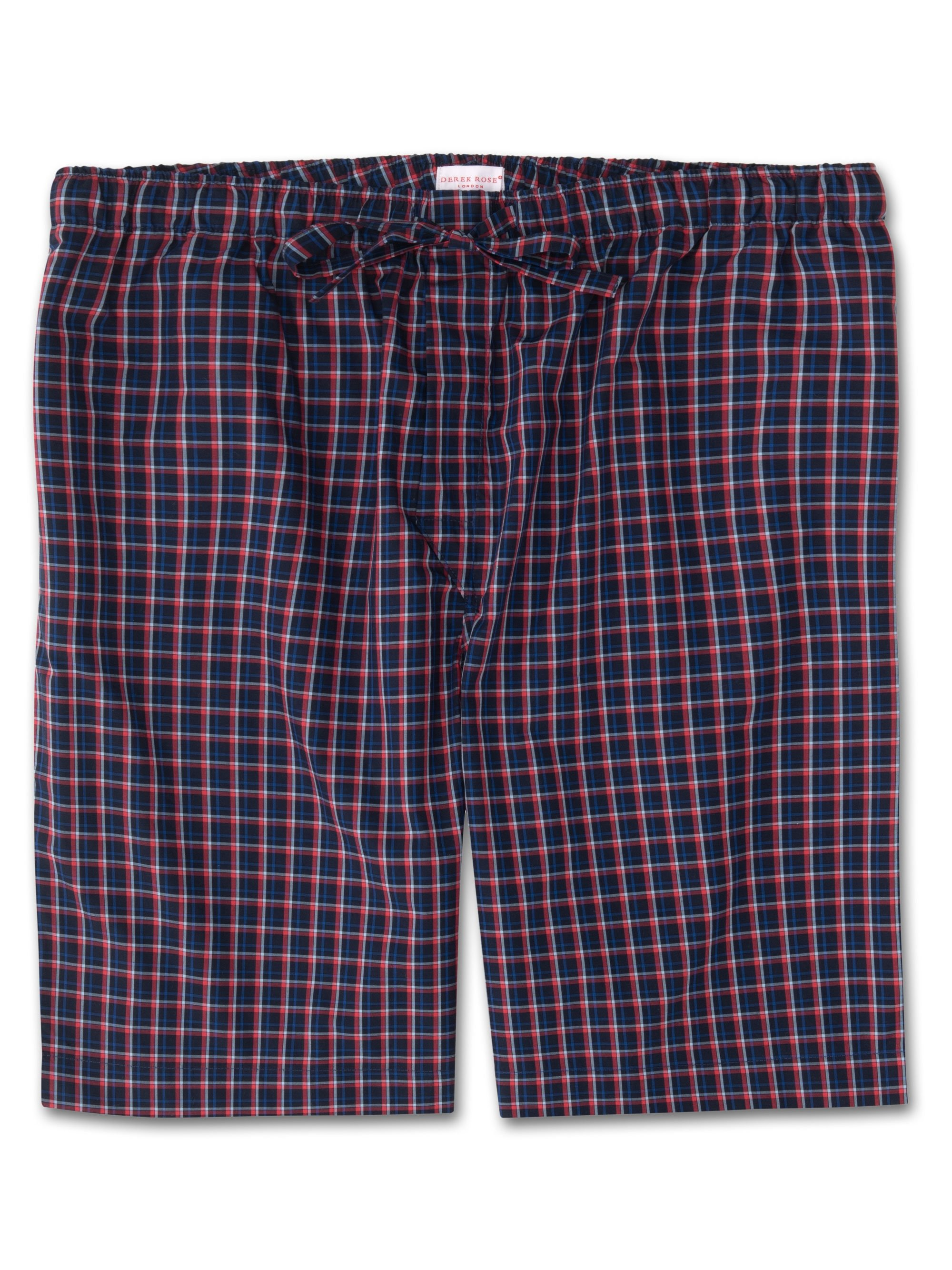 Men's Lounge Shorts Barker 22 Cotton Check Navy