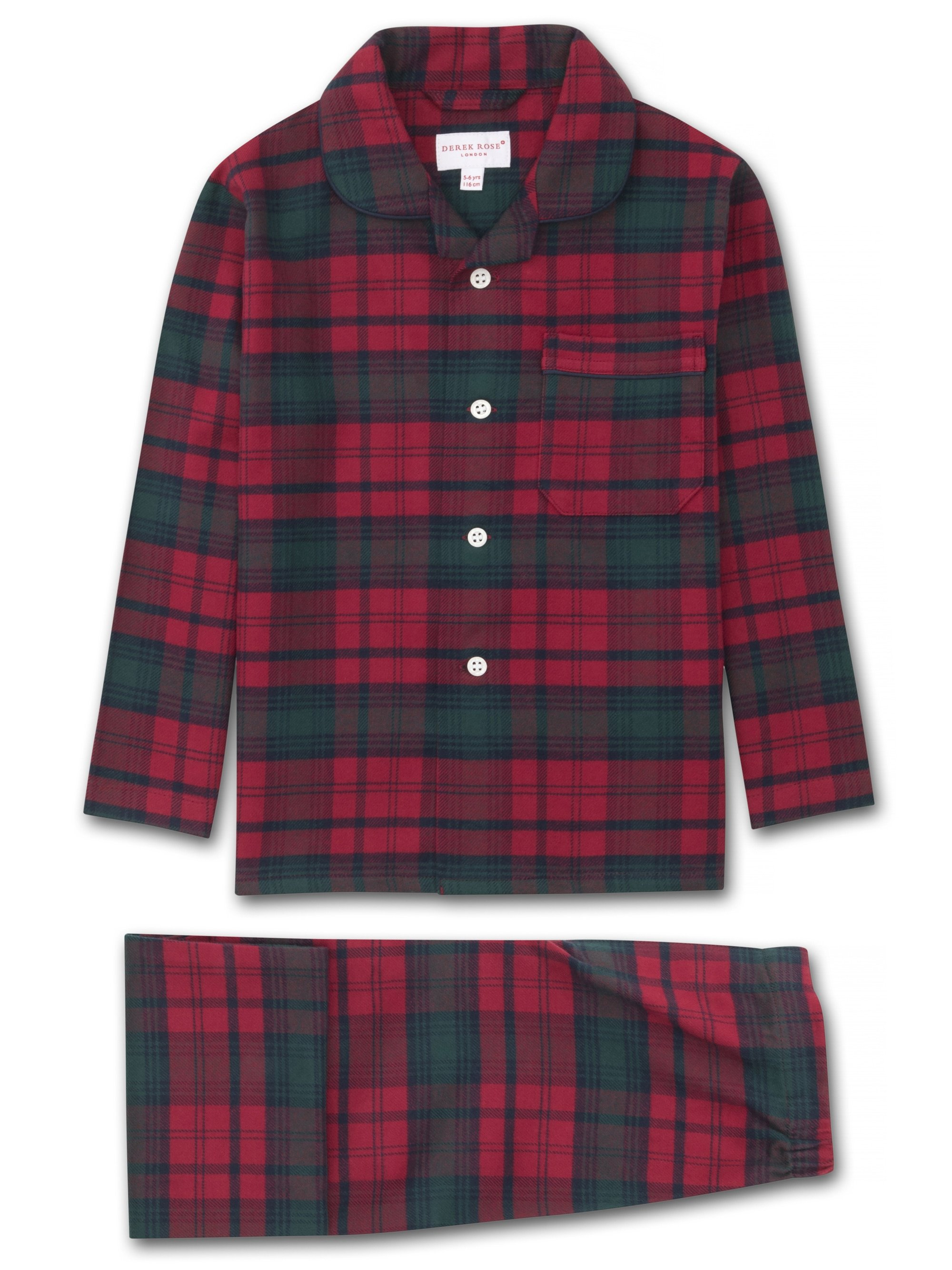 Kids' Pyjamas Kelburn 9 Brushed Cotton Check Red