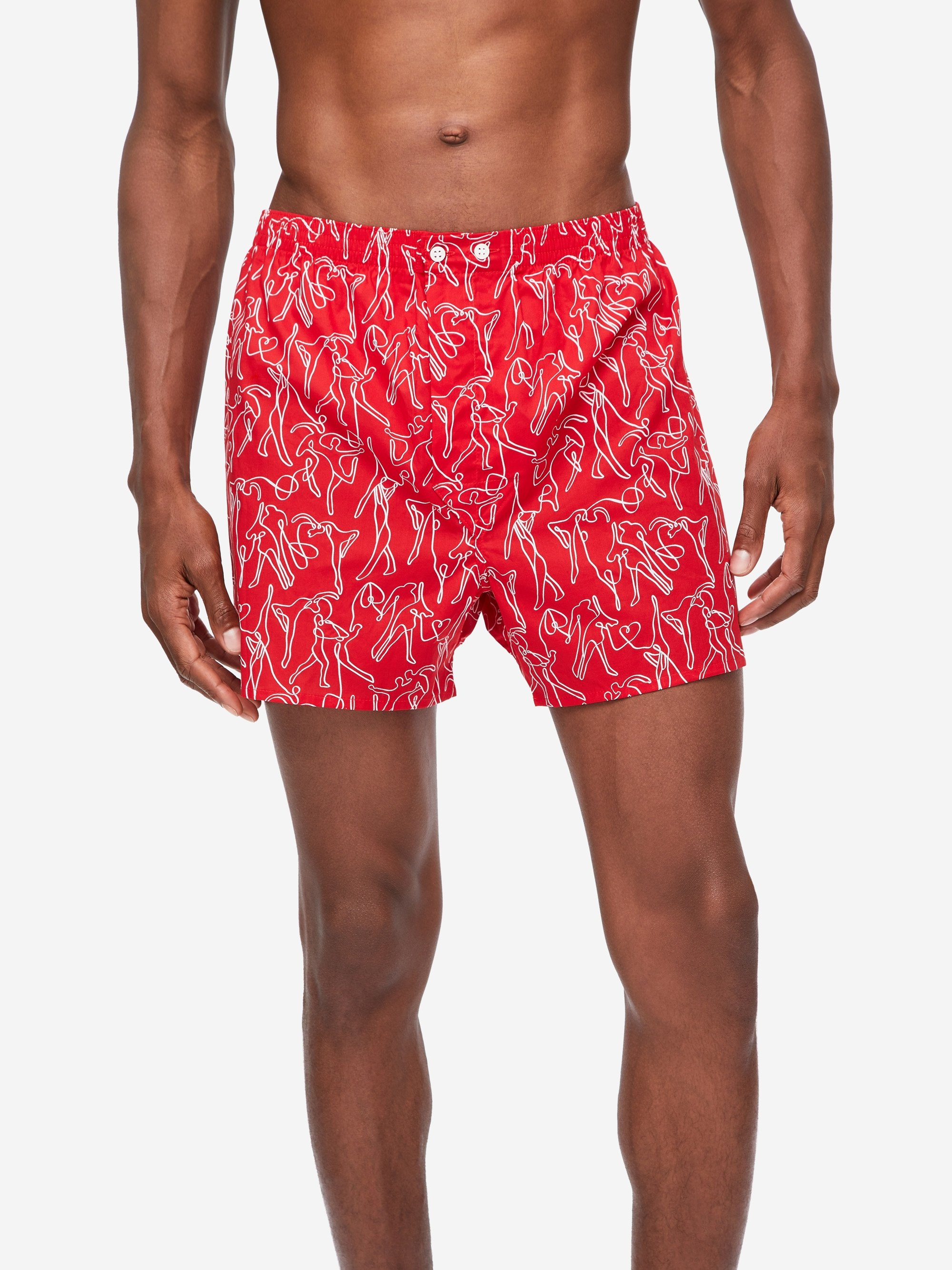 Men's Classic Fit Boxer Shorts Nelson 76 Cotton Batiste Red