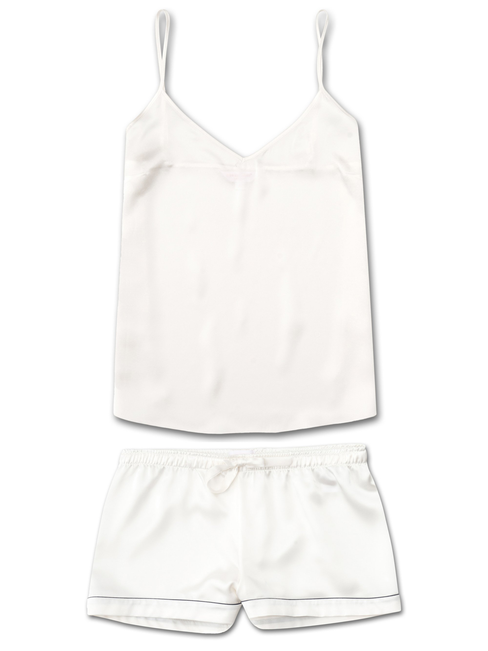 Women's Cami Short Pyjama Set Bailey Pure Silk Satin Ivory