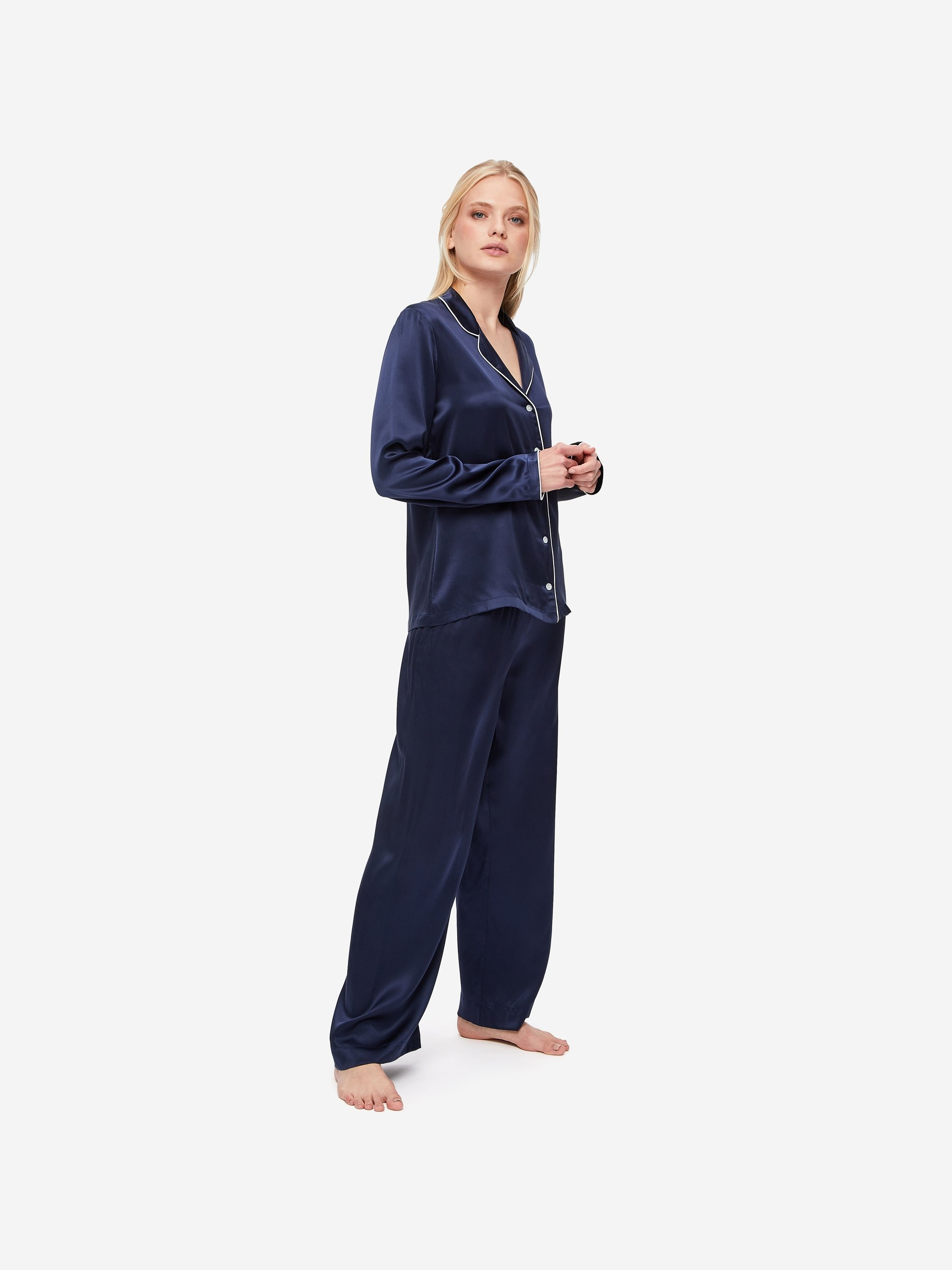 Women's Pyjamas Bailey Pure Silk Satin Navy