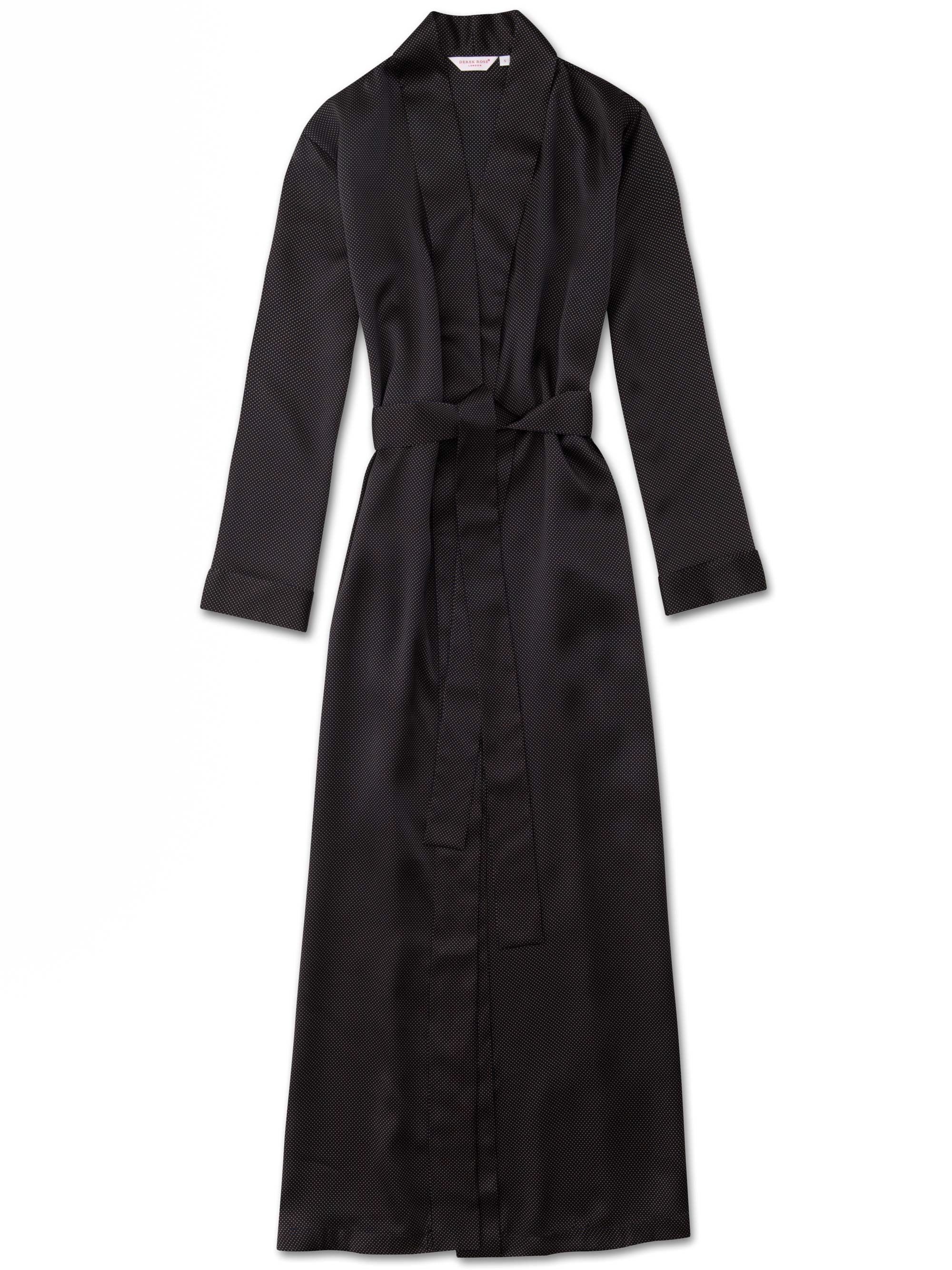 Women's Full Length Dressing Gown Brindisi 45 Pure Silk Satin Navy