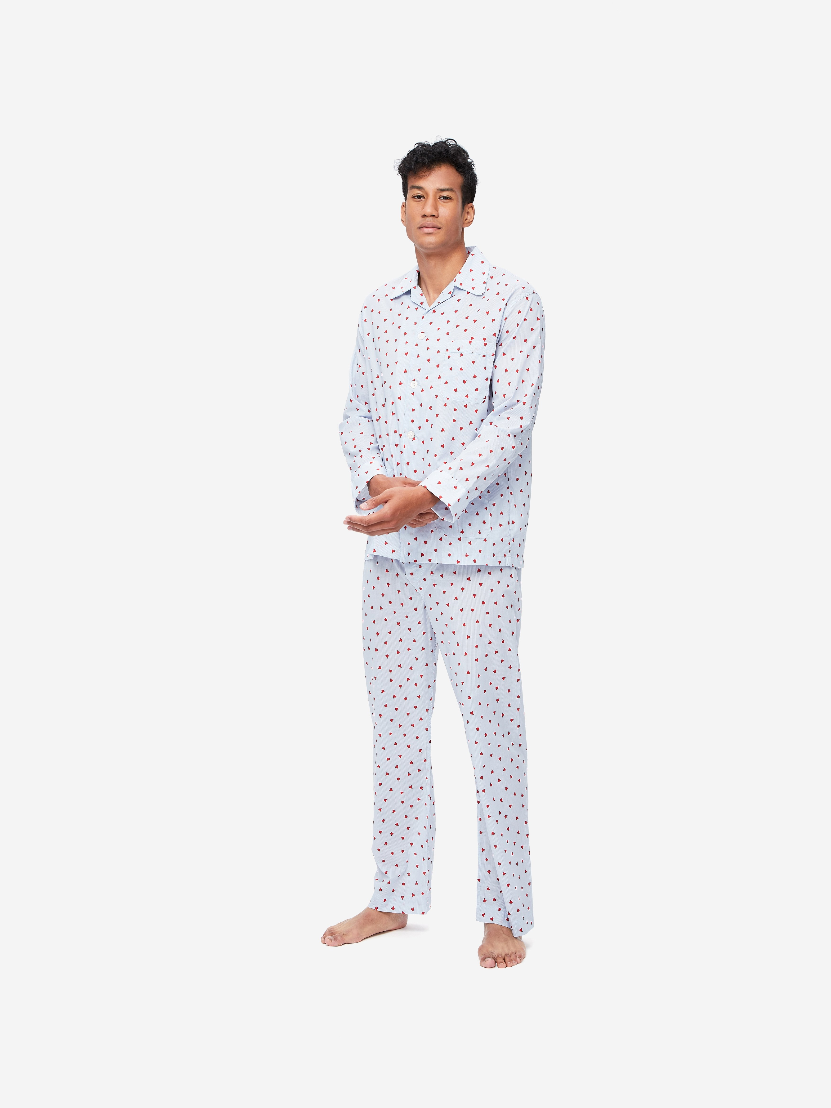 Men's Classic Fit Piped Pyjamas Nelson 75 Cotton Batiste Blue