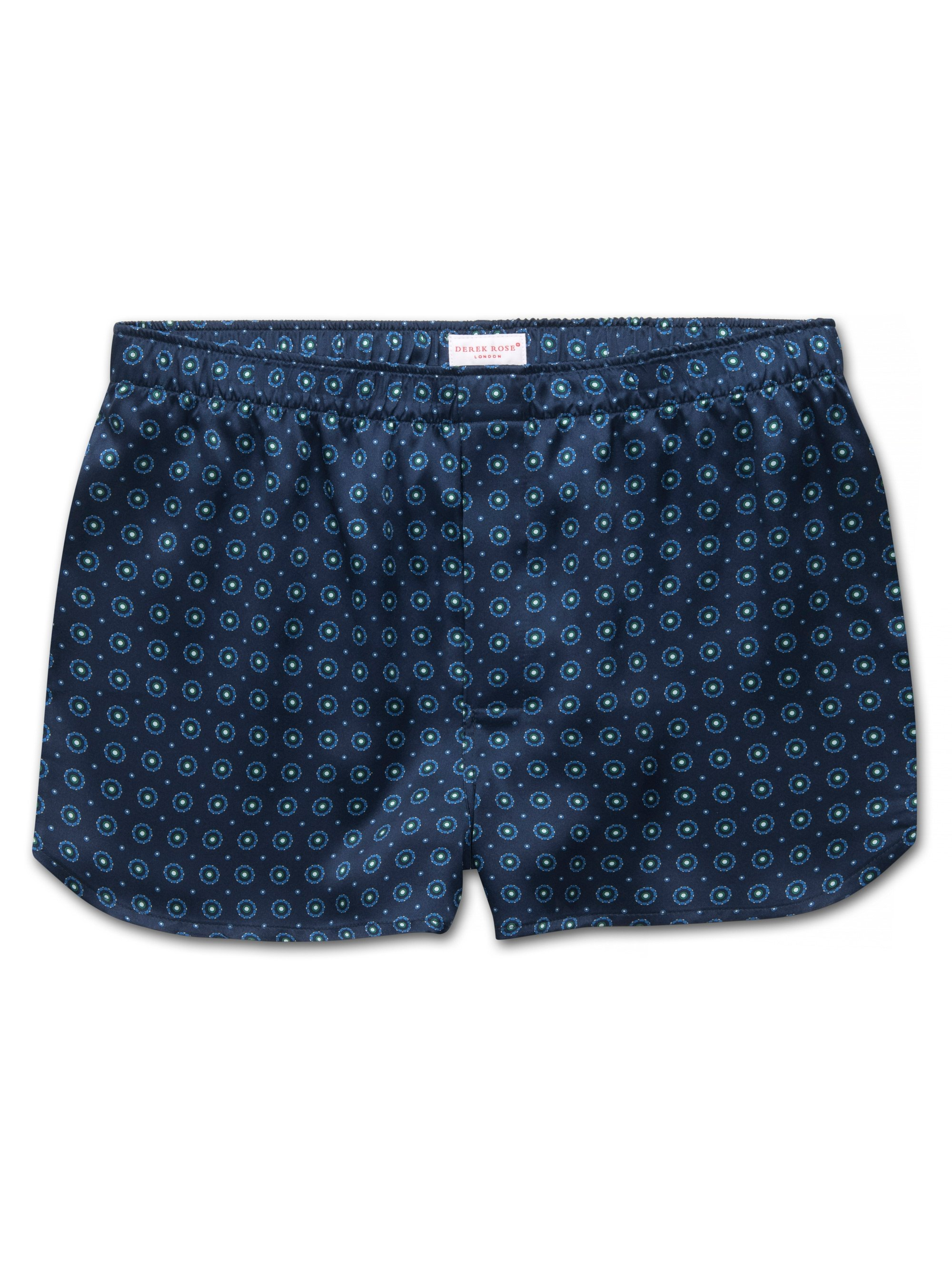Men's Modern Fit Boxer Shorts Brindisi 52 Pure Silk Satin Navy