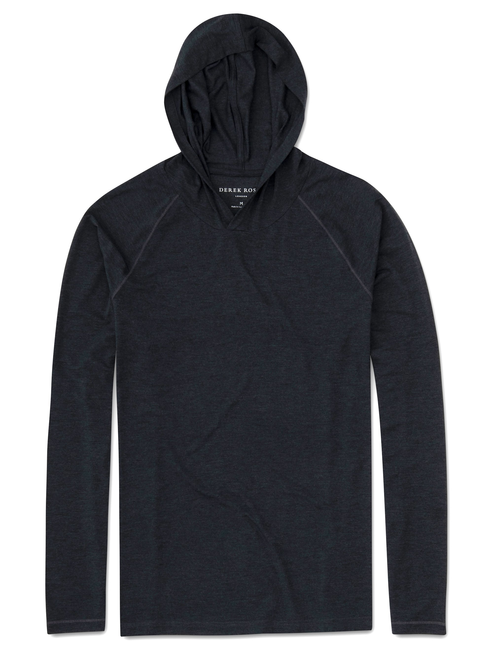 Men's Jersey Pullover Hoodie Marlowe Micro Modal Stretch Anthracite