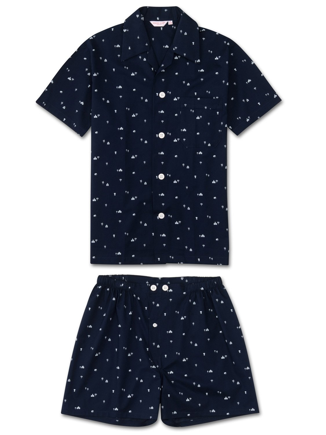 Men's Short Pyjamas Nelson 62 Cotton Batiste Navy