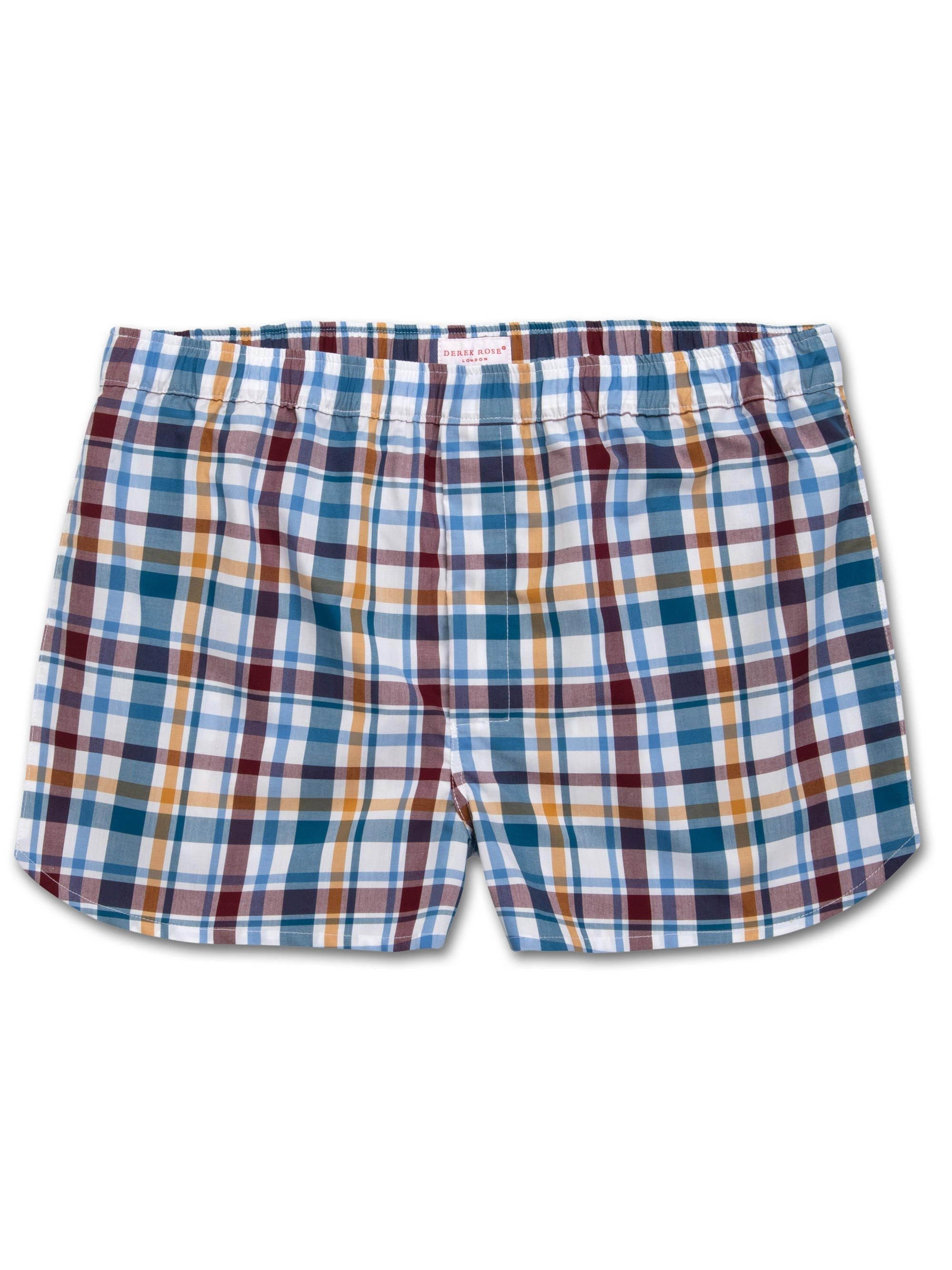 Men's Modern Fit Boxer Shorts Barker 25 Cotton Check Multi