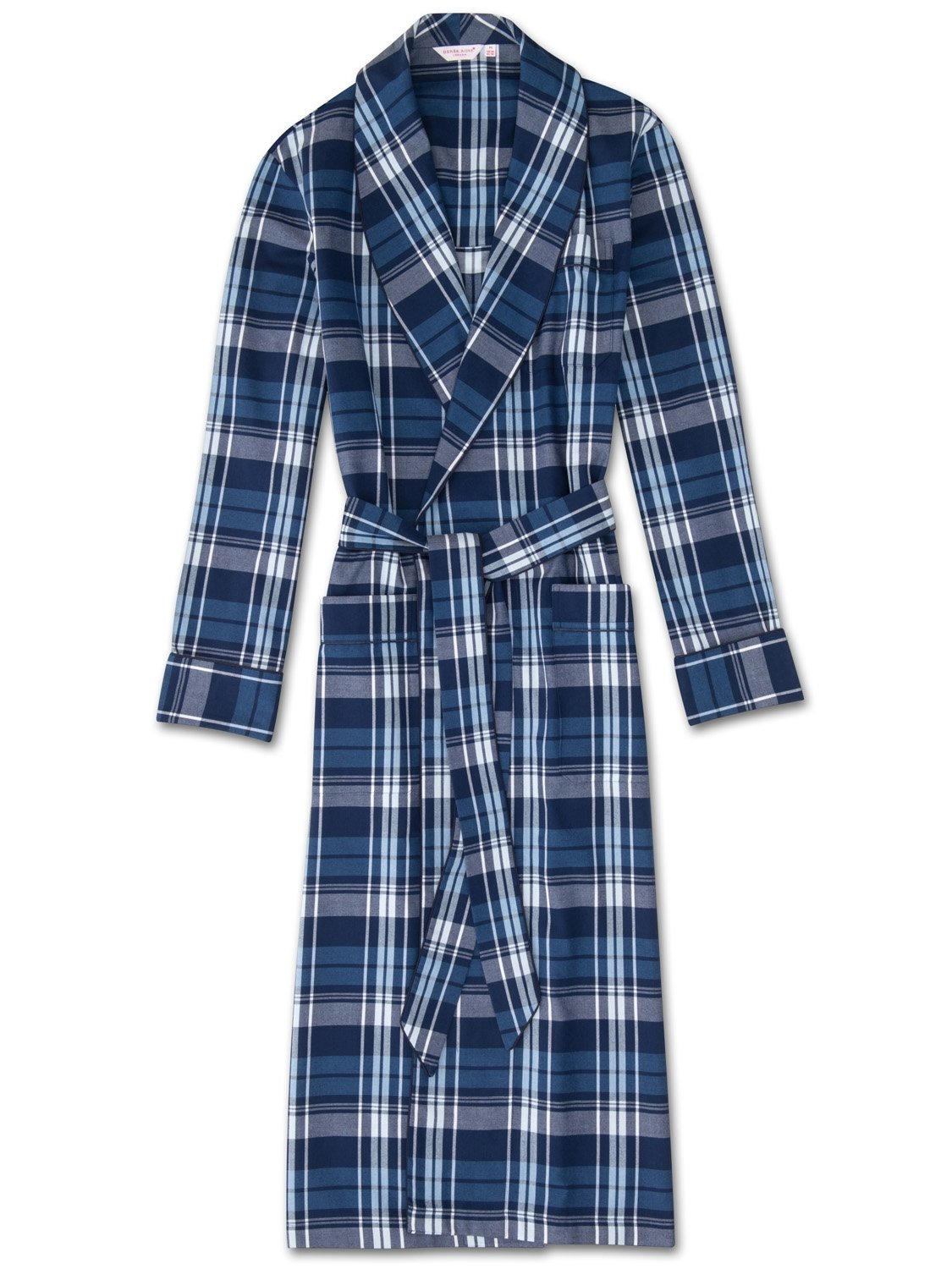 Men's Piped Dressing Gown Ranga 31 Brushed Cotton Check Navy