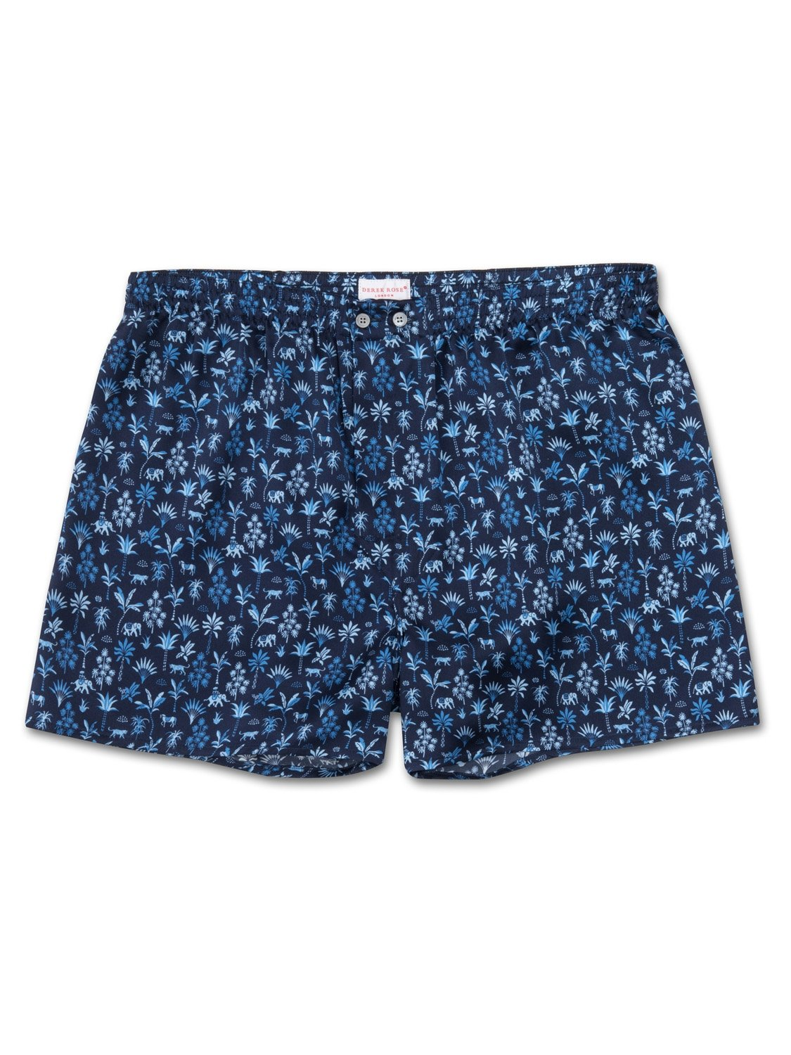 Men's Classic Fit Boxer Shorts Brindisi 23 Pure Silk Satin Navy