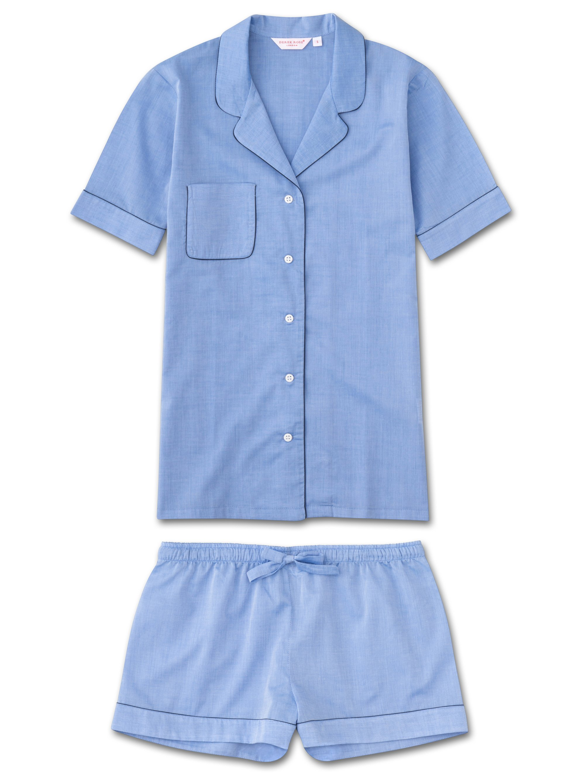 Women's Shortie Pyjamas Amalfi Cotton Batiste Blue