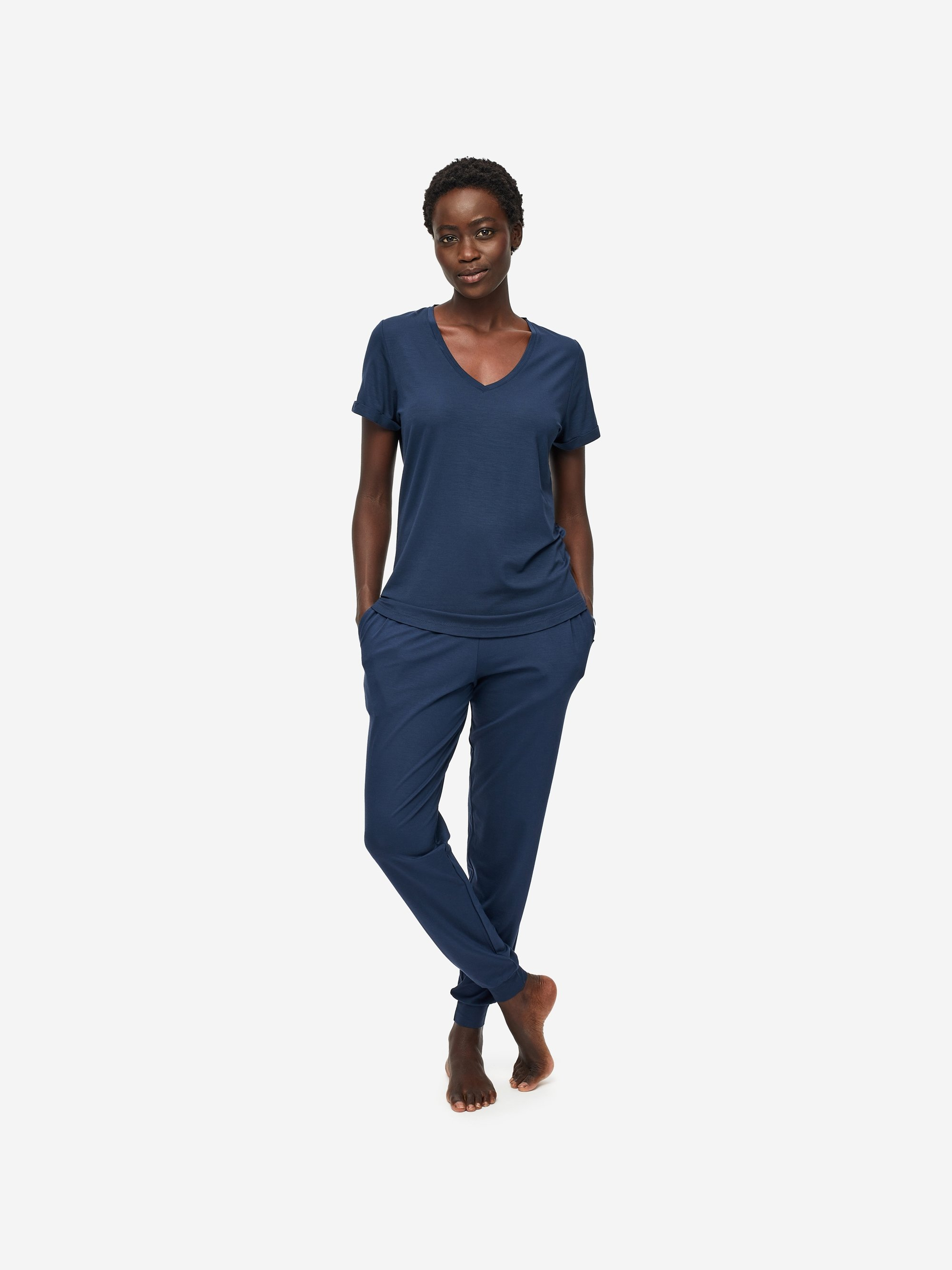 Women's V-Neck T-Shirt Lara Micro Modal Stretch Navy