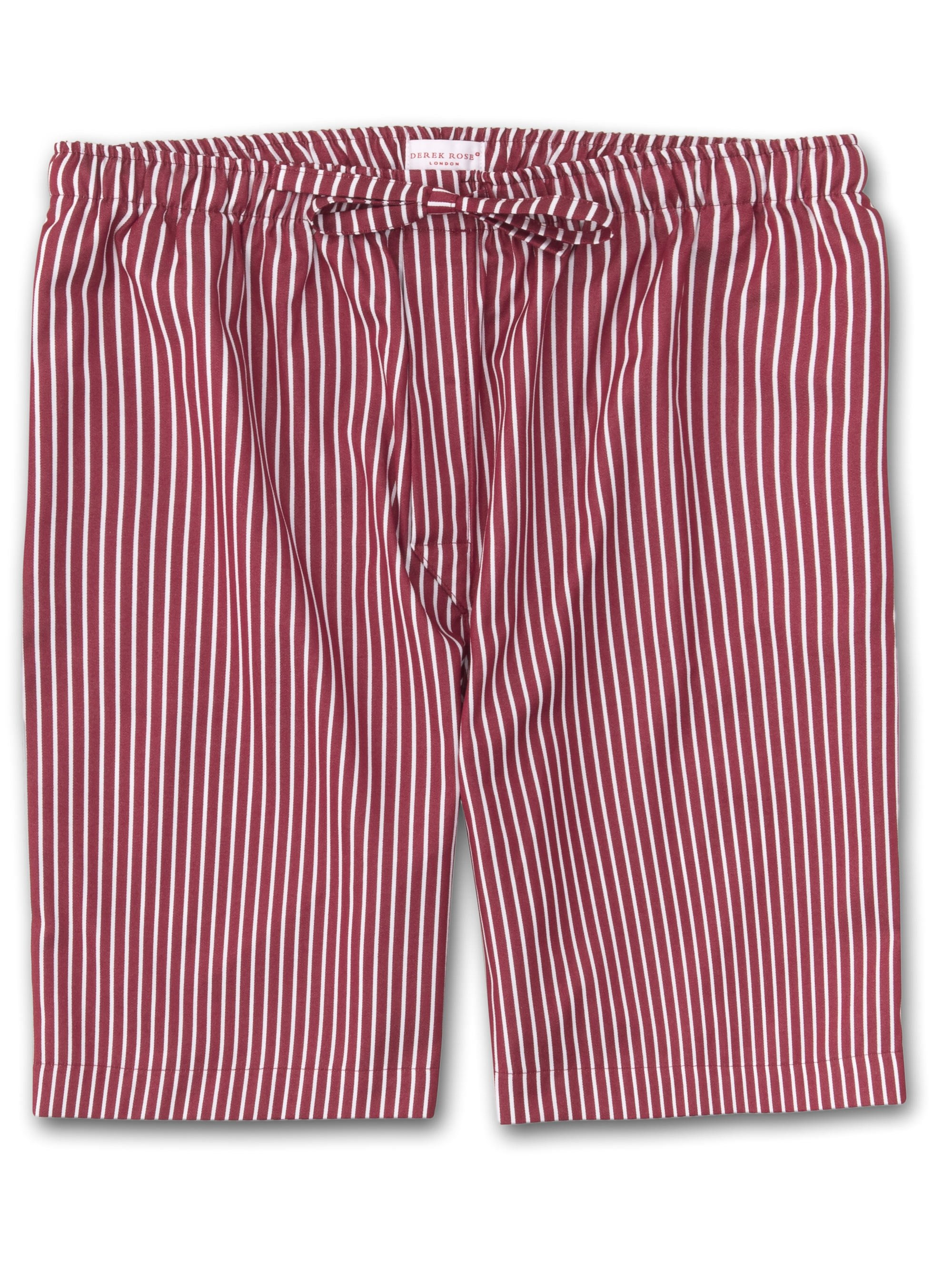 Men's Lounge Shorts Royal 215 Cotton Satin Stripe Red