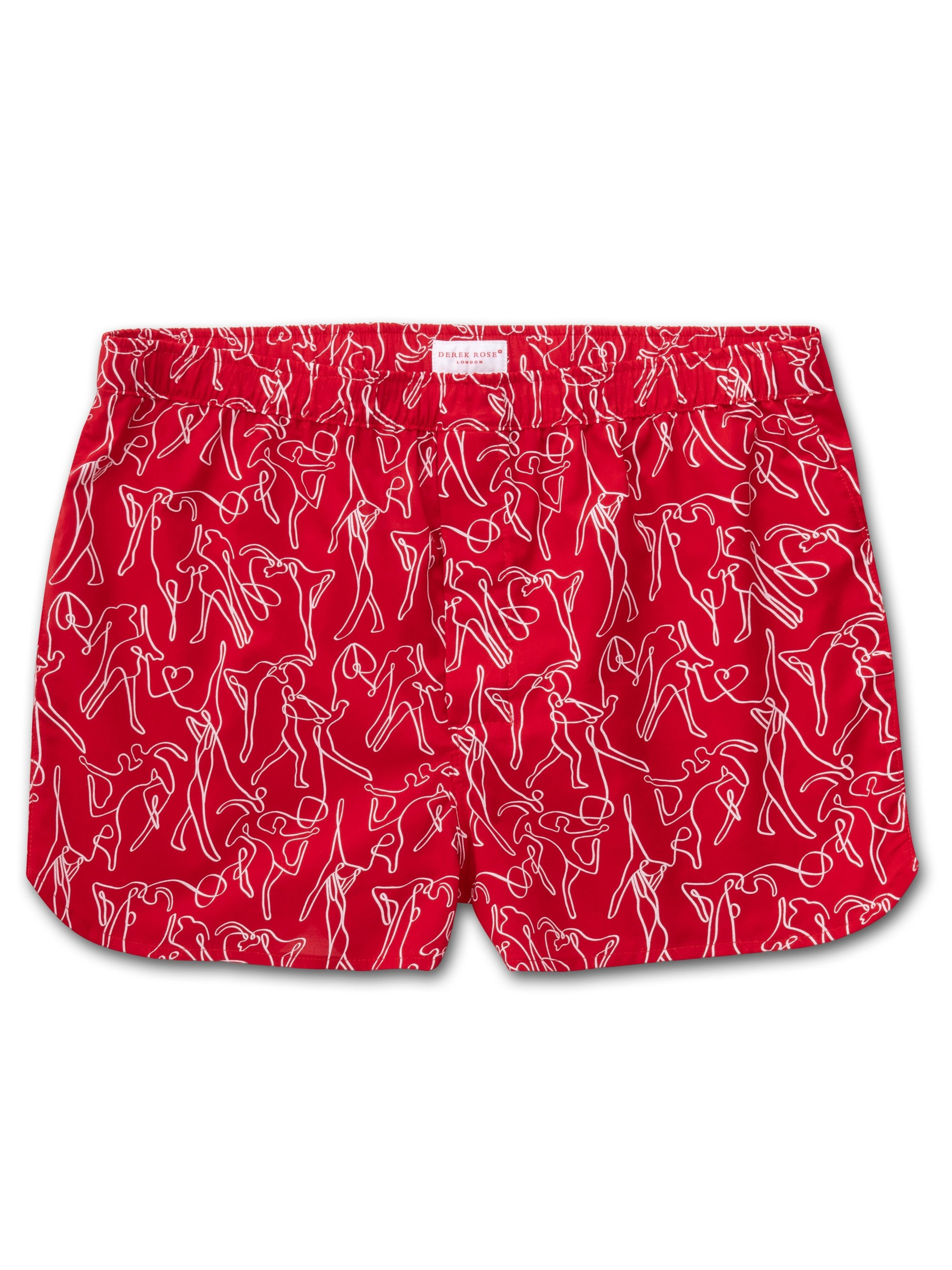 Men's Modern Fit Boxer Shorts Nelson 76 Cotton Batiste Red