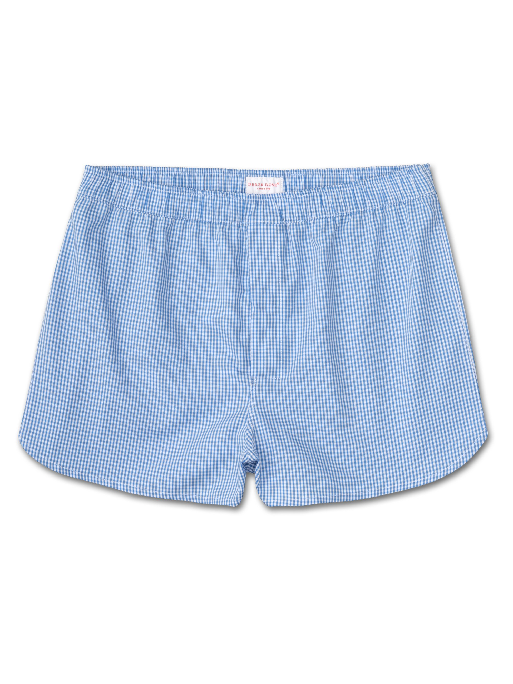 Men's Modern Fit Boxer Shorts Gingham Pure Cotton Check Blue