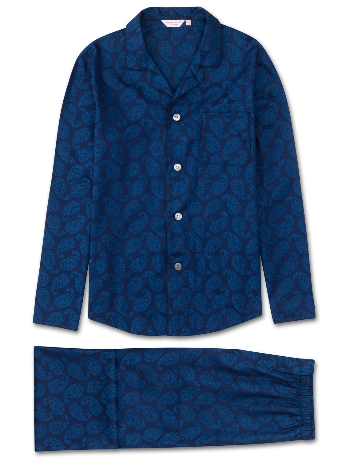 Men's Modern Fit Pyjamas Paris 13 Cotton Jacquard Navy