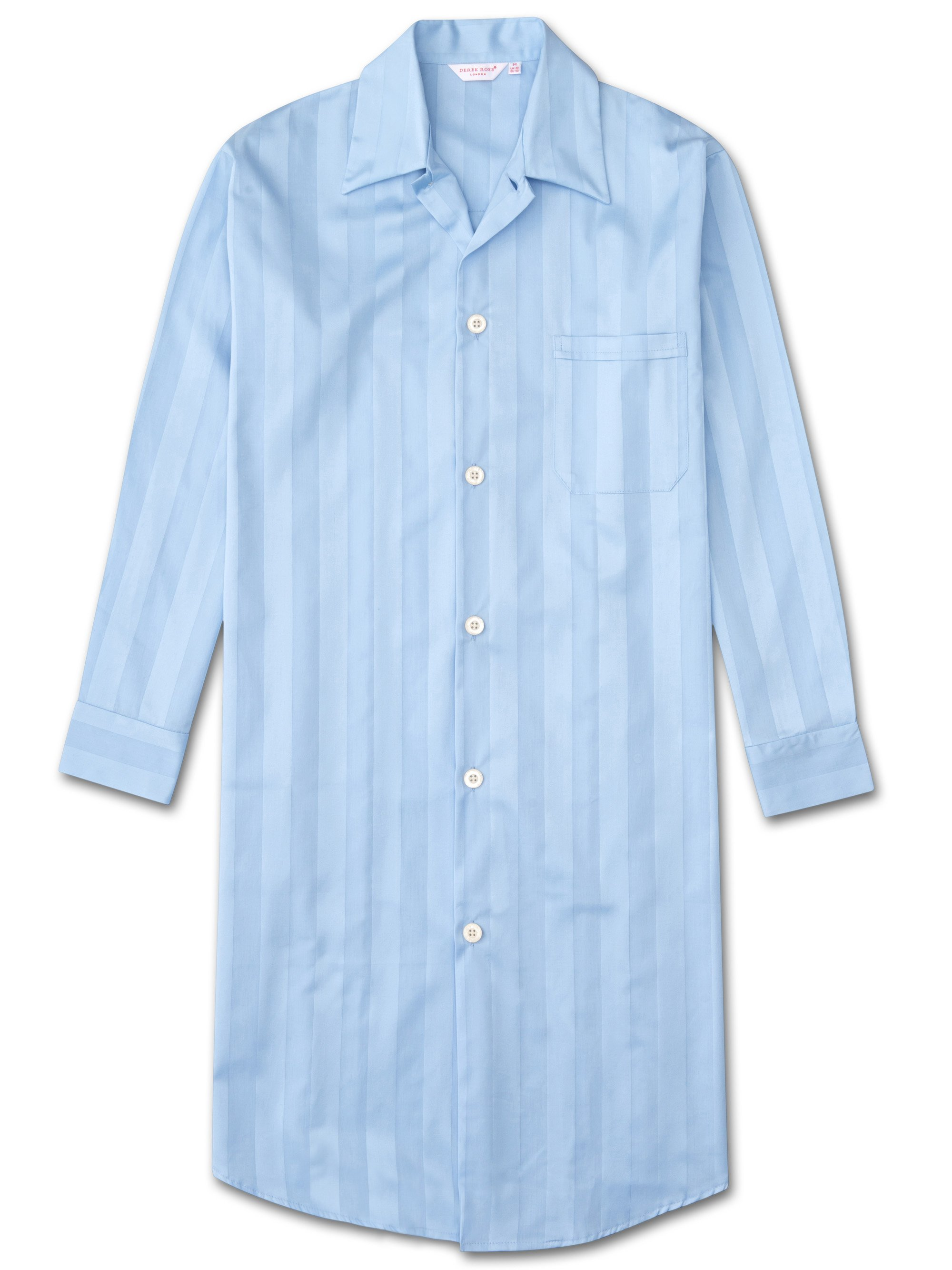 Men's Button-Through Nightshirt Lingfield Cotton Satin Stripe Blue
