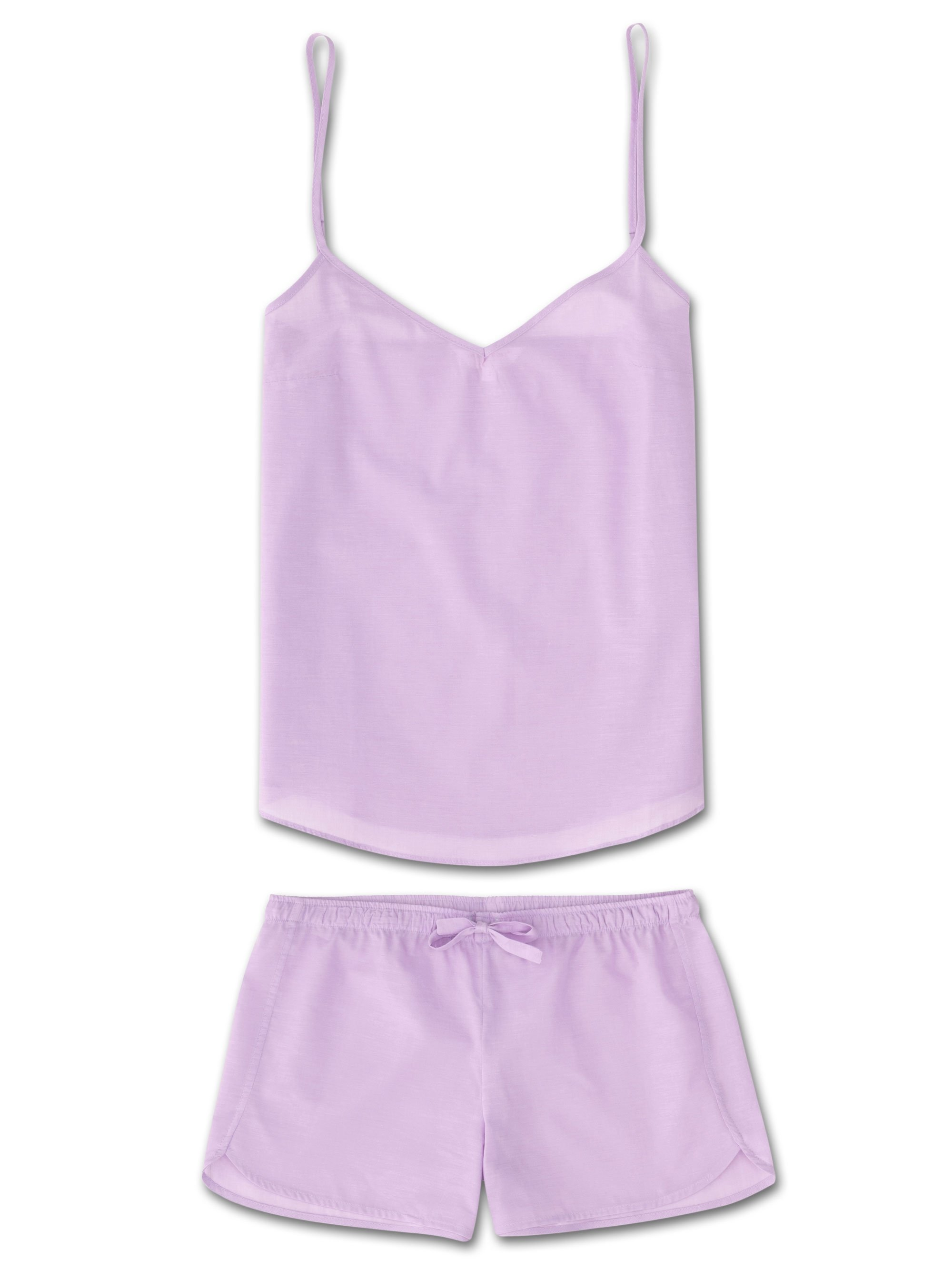 Women's Cami Short Pyjama Set Amalfi Cotton Batiste Lilac