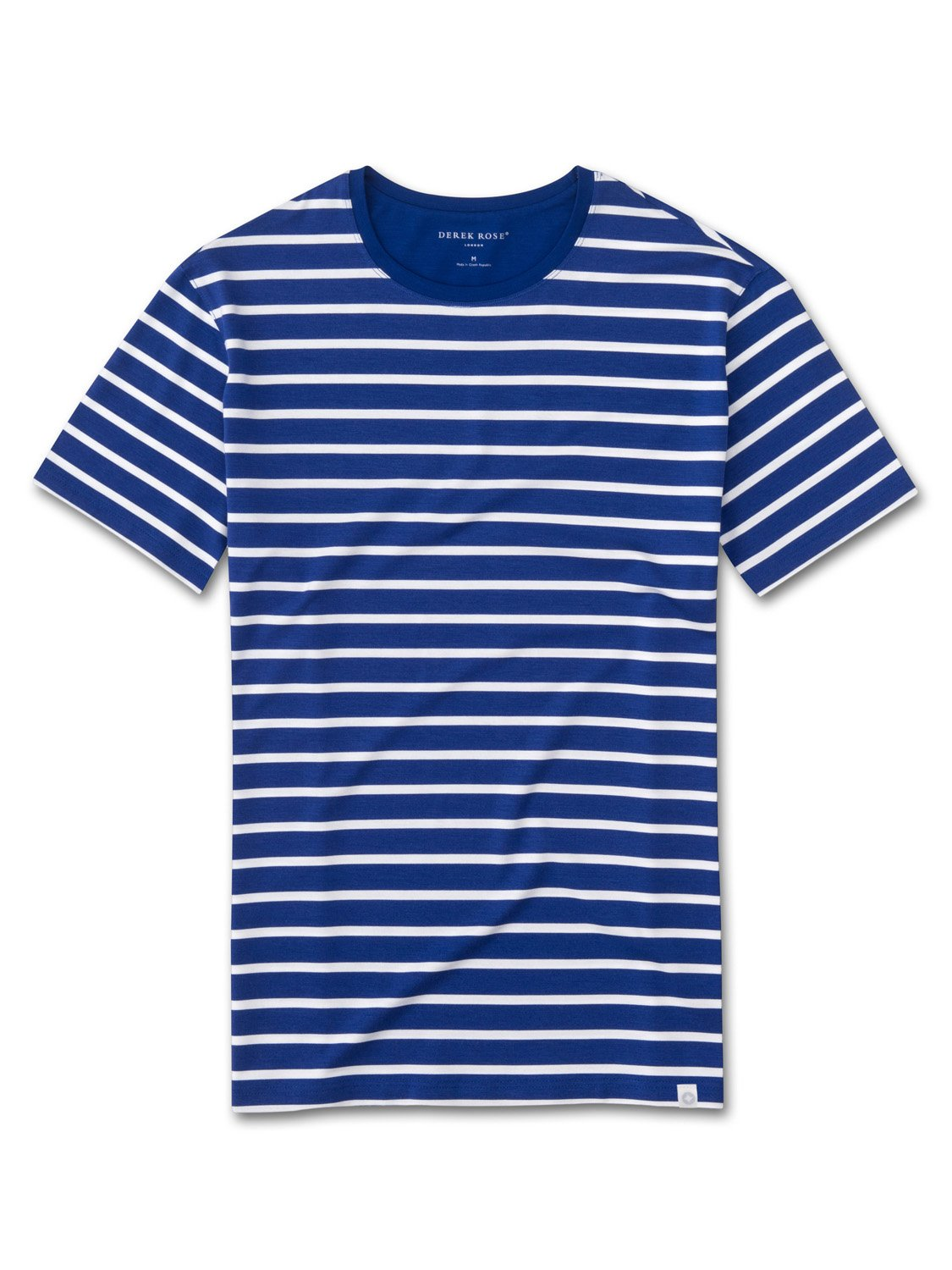 Men 39 s micro modal stretch t shirt stripe blue derek rose for Modal t shirts mens