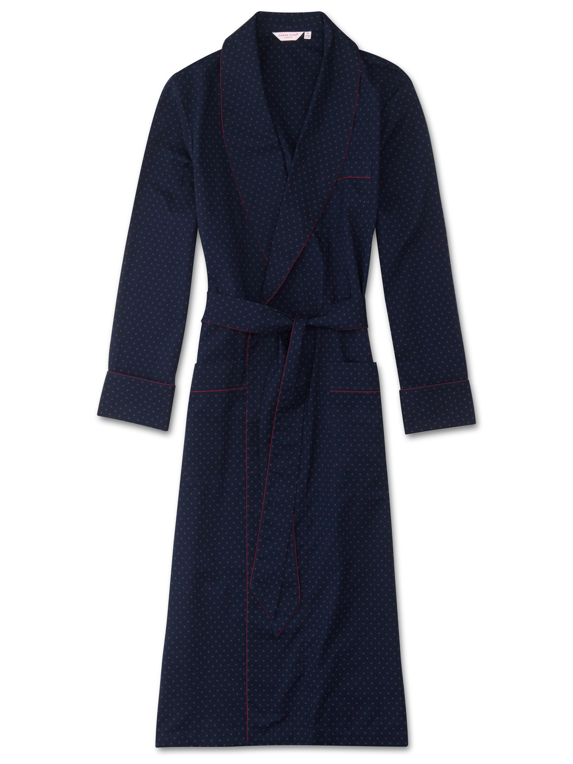 Men's Piped Dressing Gown Nelson 21 Cotton Batiste Red
