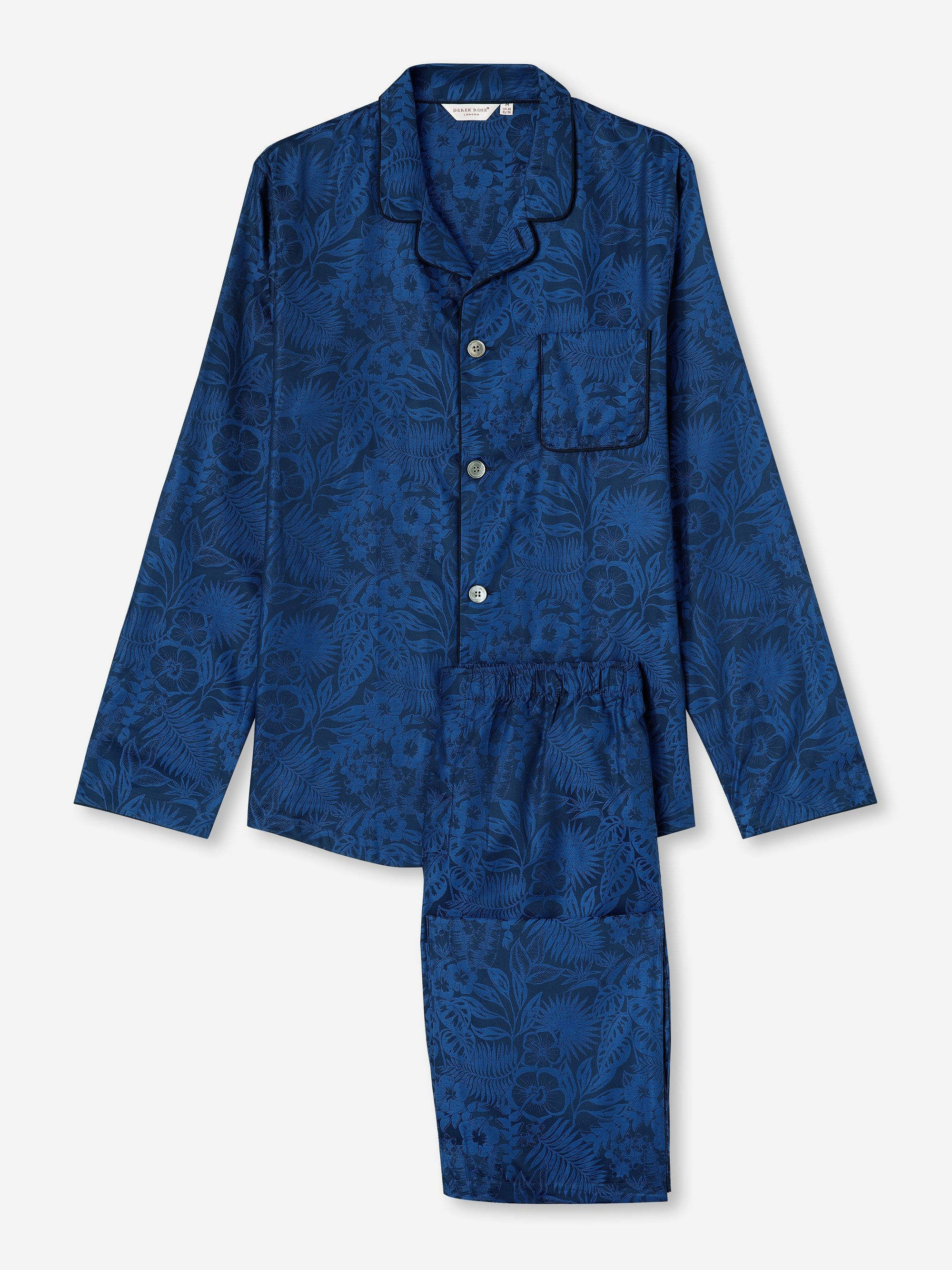 Men's Modern Fit Pyjamas Paris 19 Cotton Jacquard Navy