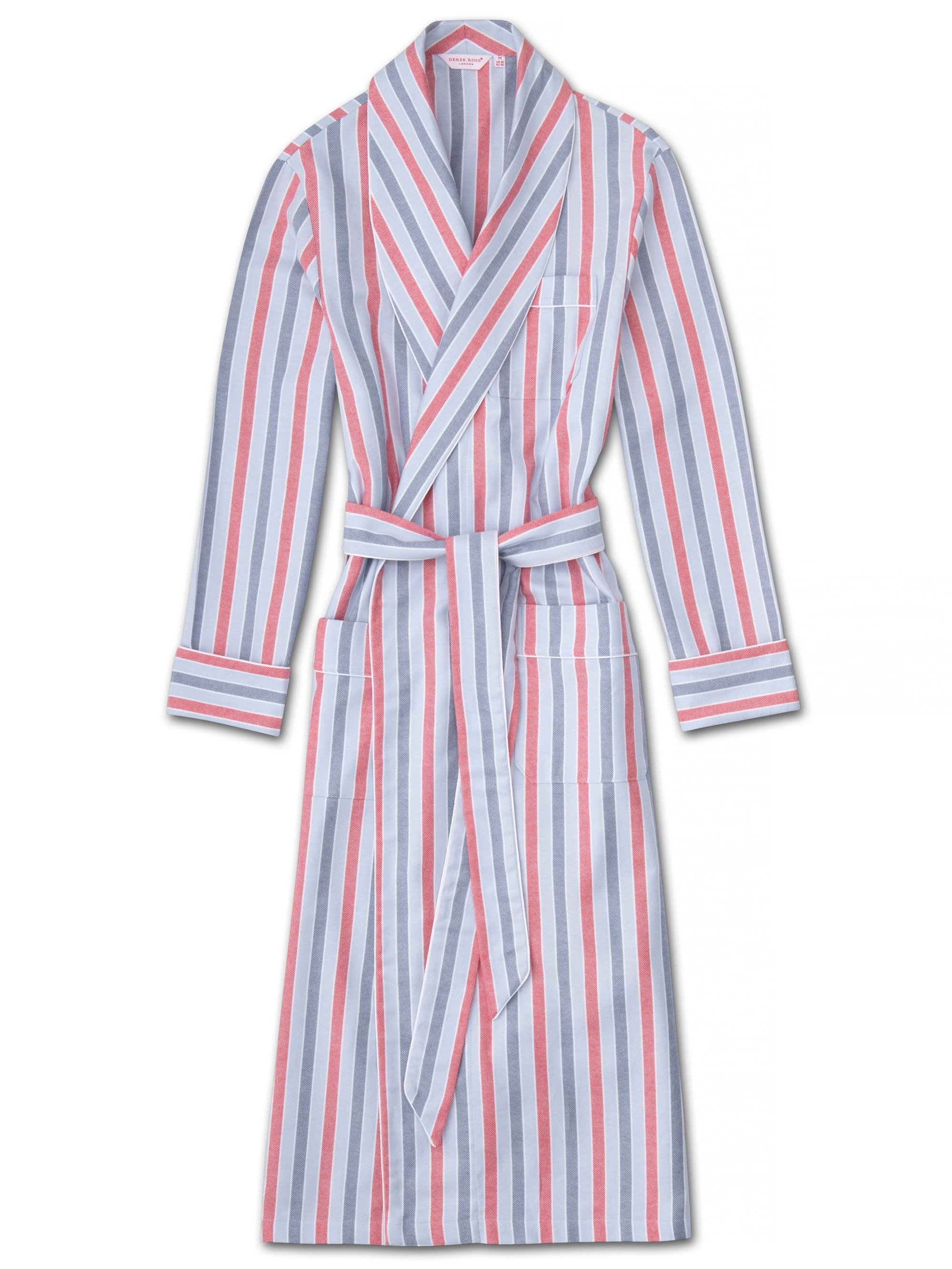 Men's Piped Dressing Gown Kelburn 11 Brushed Cotton Stripe Blue