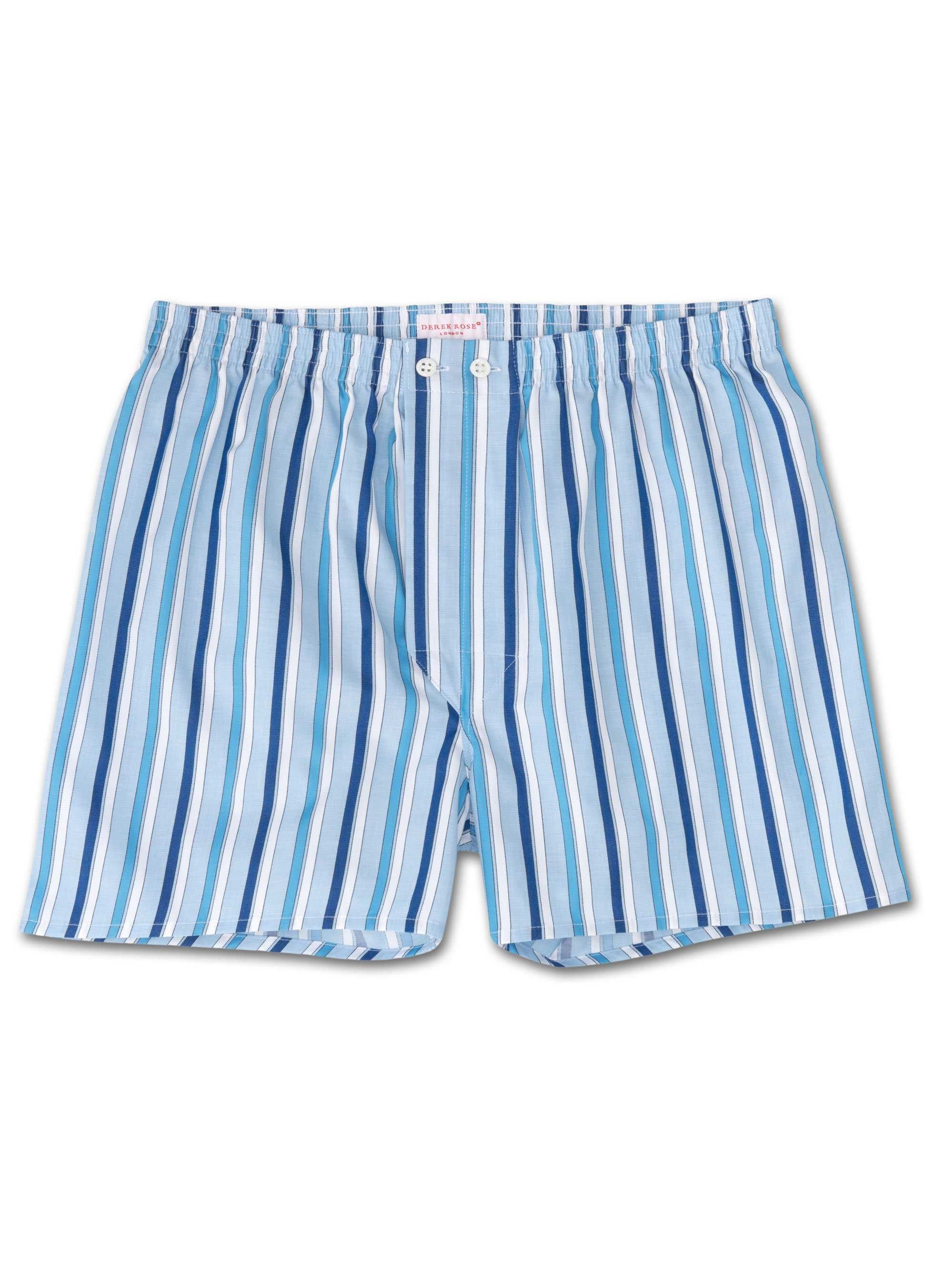 Men's Classic Fit Boxer Shorts Stowe 180 Cotton Satin Stripe Blue