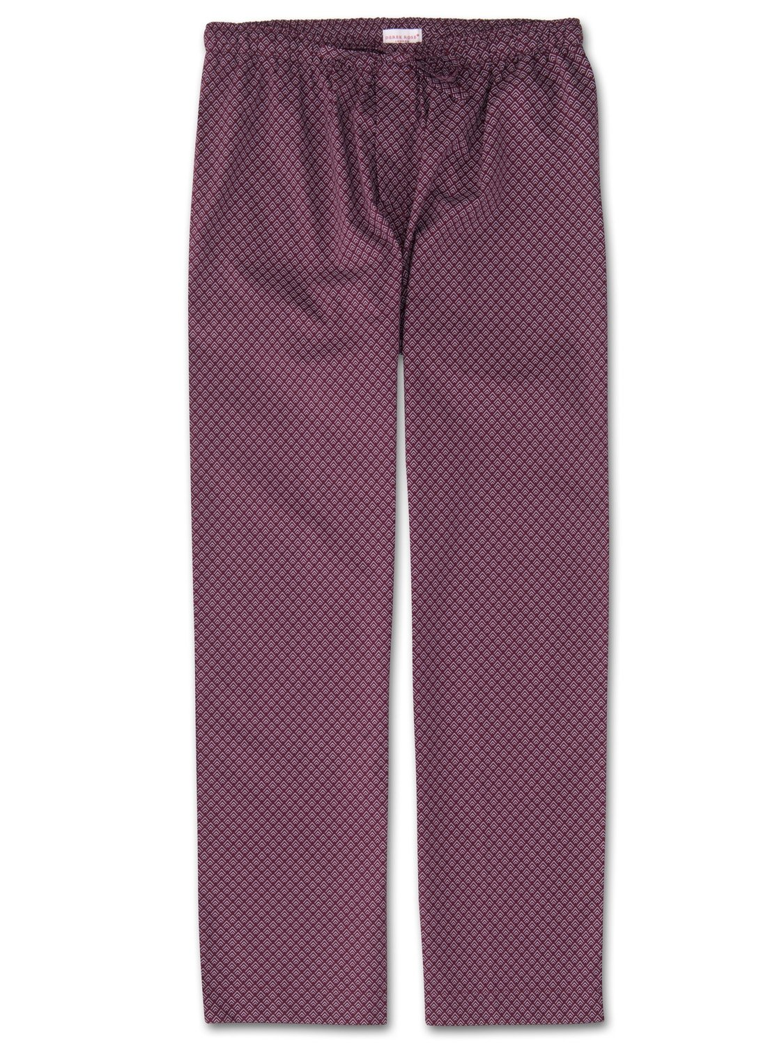 Men's Lounge Trousers Nelson 66 Cotton Batiste Burgundy