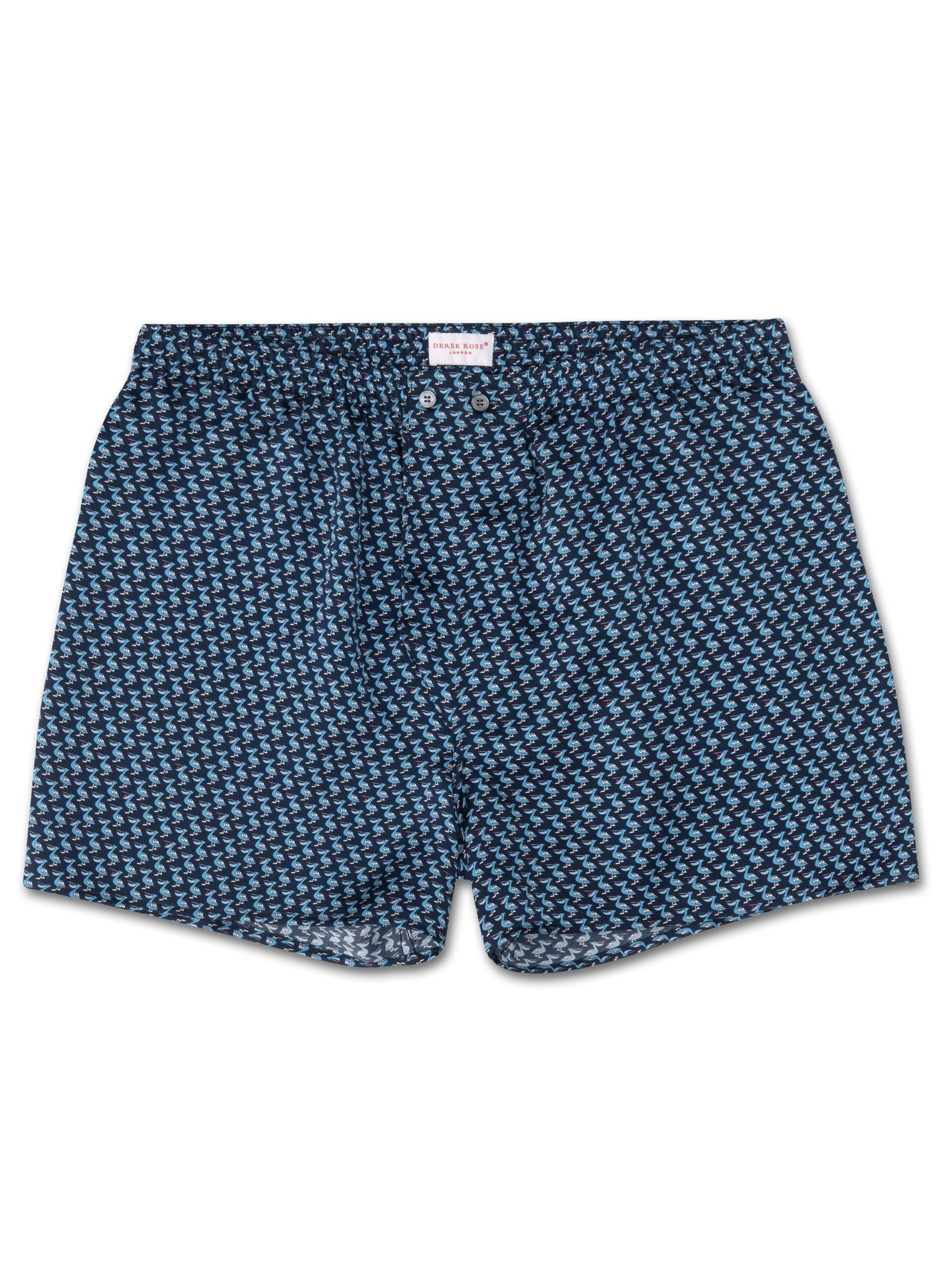 Men's Classic Fit Boxer Shorts Brindisi 32 Pure Silk Satin Navy