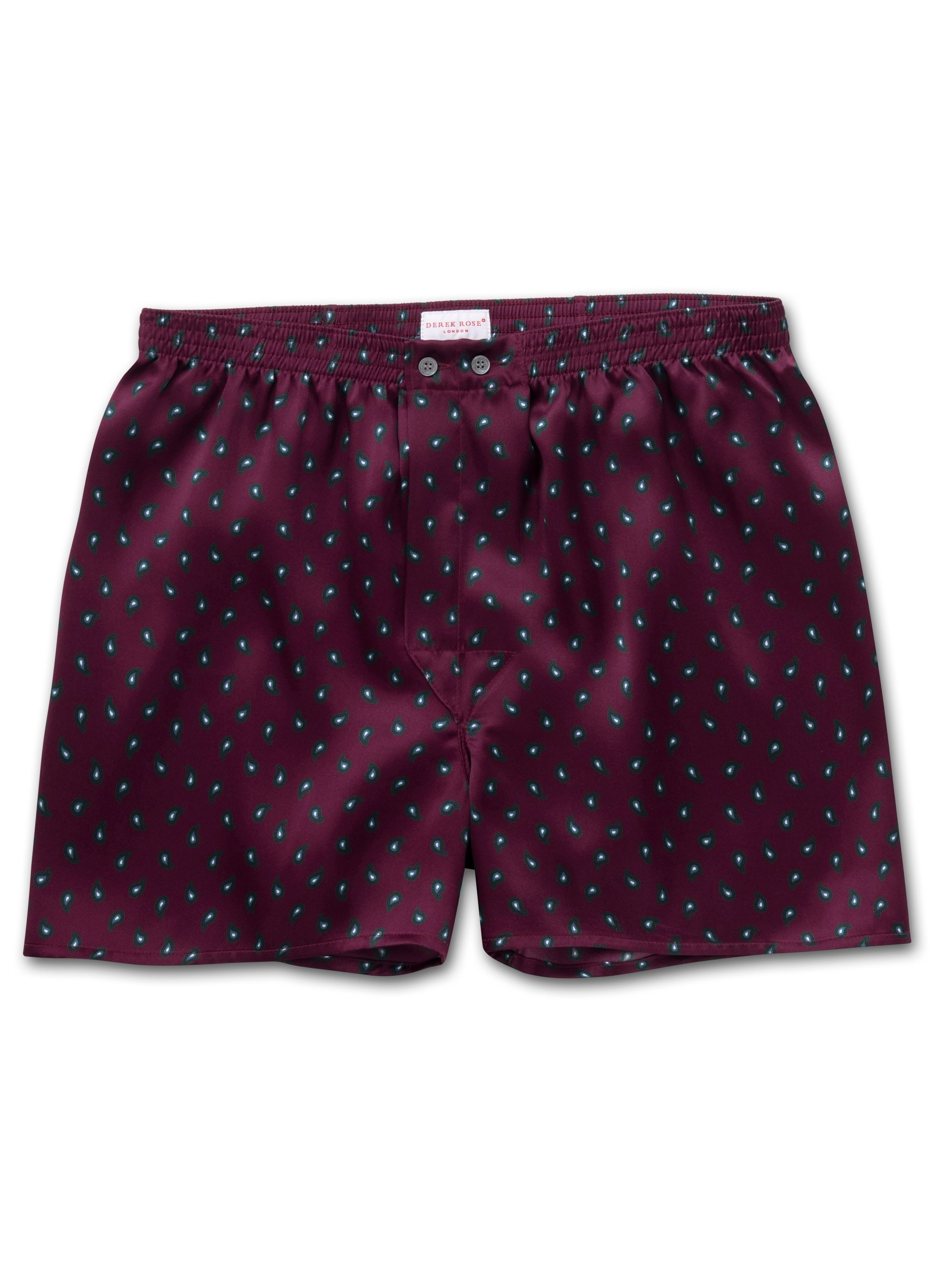 Men's Classic Fit Boxer Shorts Brindisi 57 Pure Silk Satin Burgundy