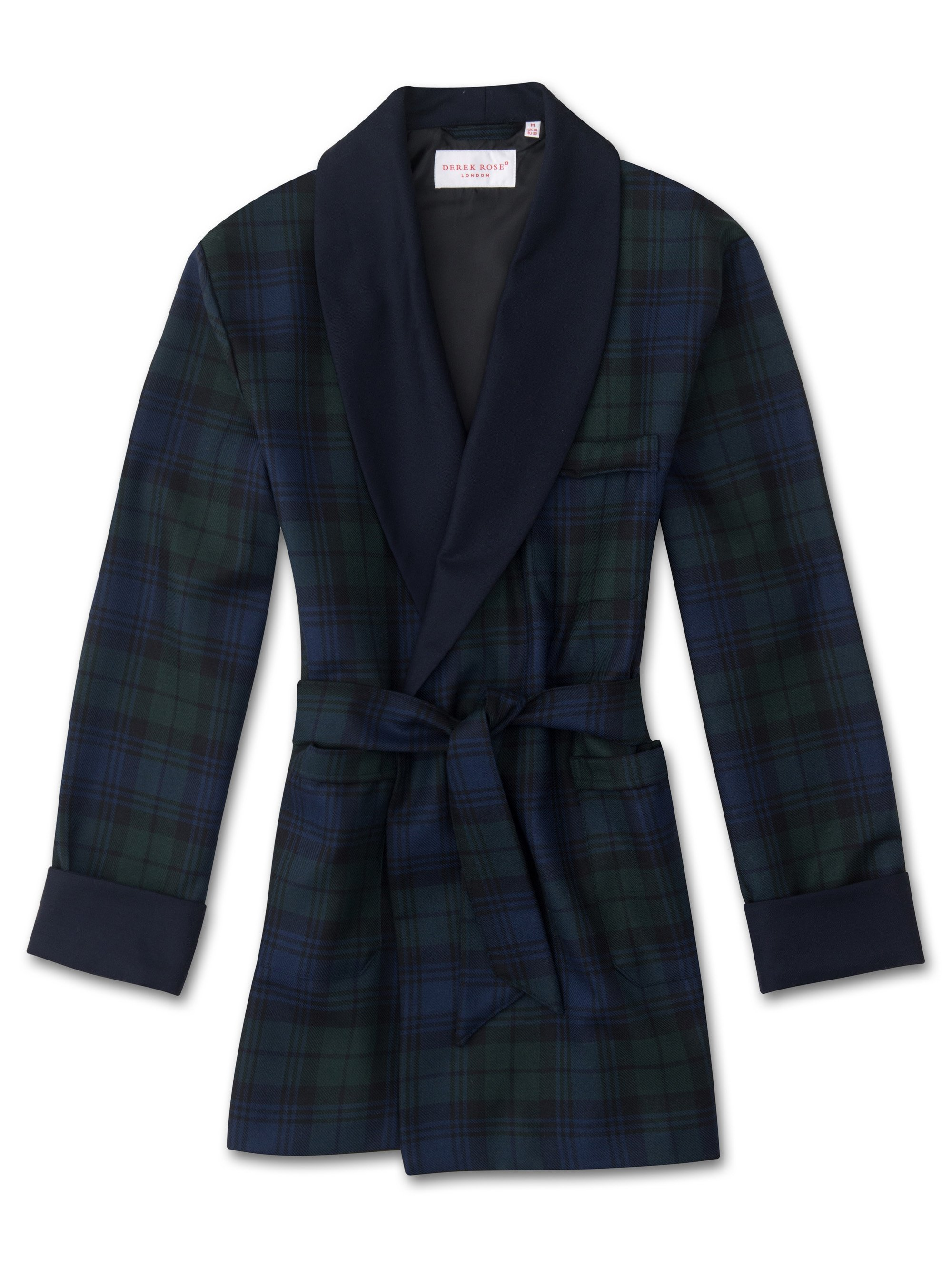 Men's Smoking Jacket Tartan Pure Wool Black Watch