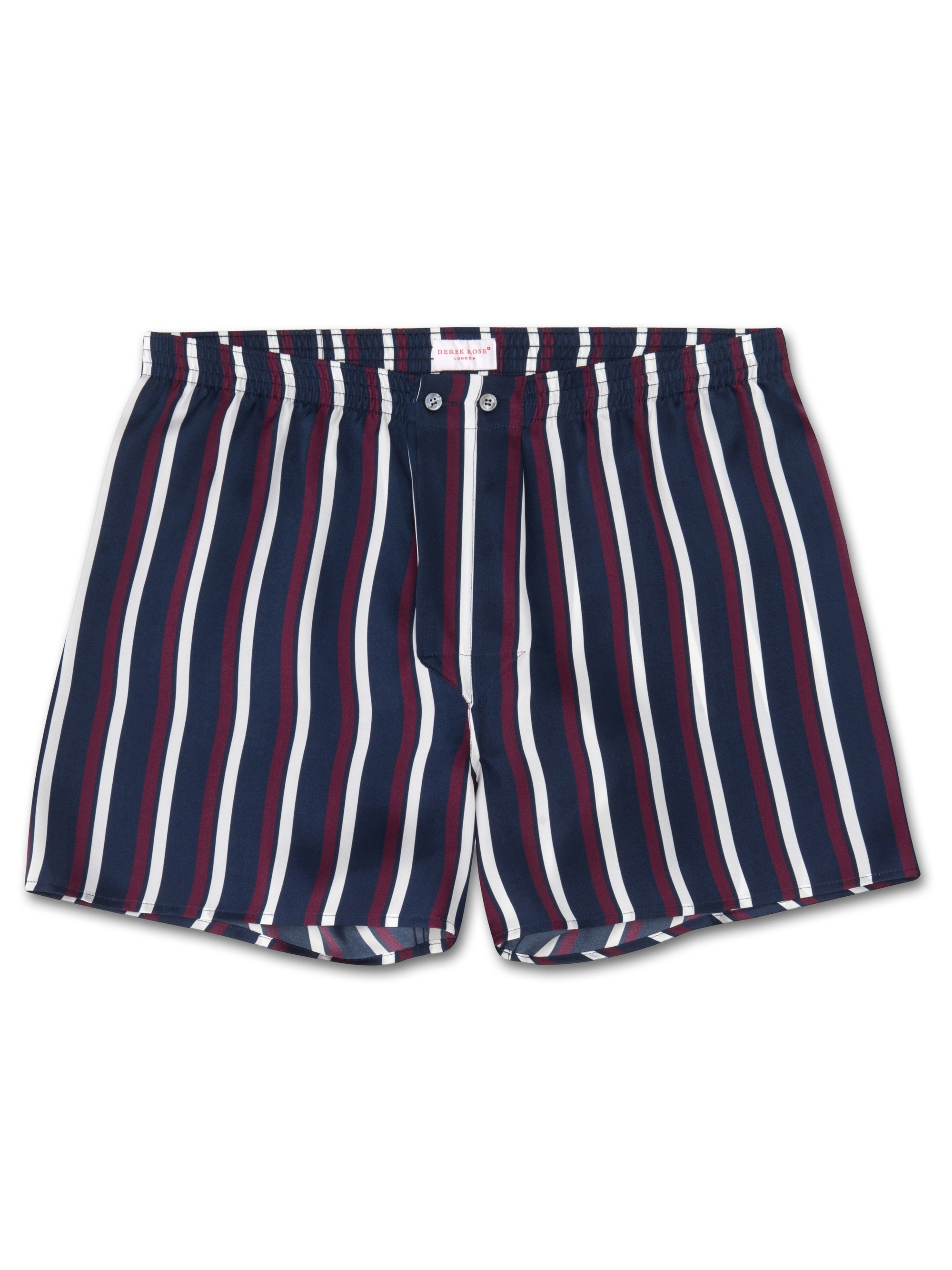 Men's Classic Fit Boxer Shorts Brindisi 31 Pure Silk Satin Navy