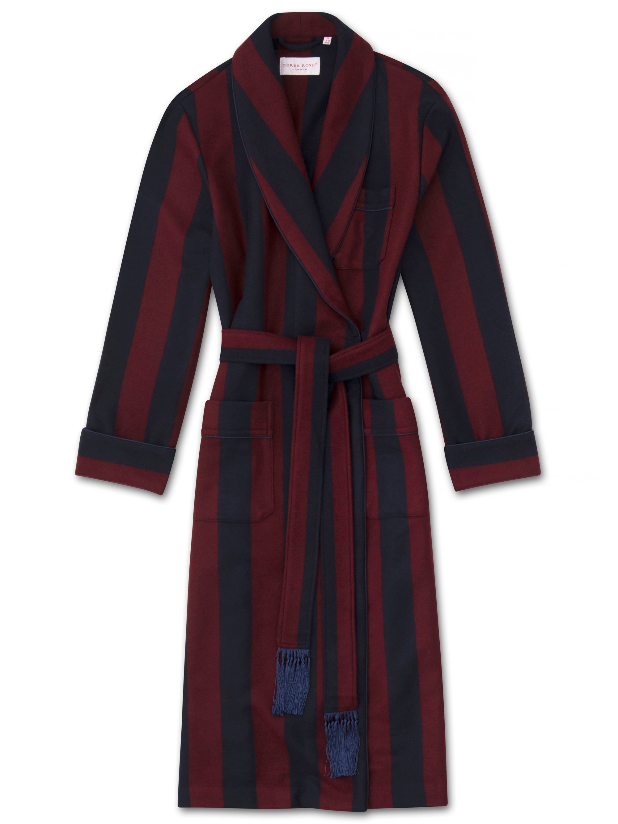 Men's Tasseled Belt Dressing Gown Chiltern 2 Merino Cashmere Navy