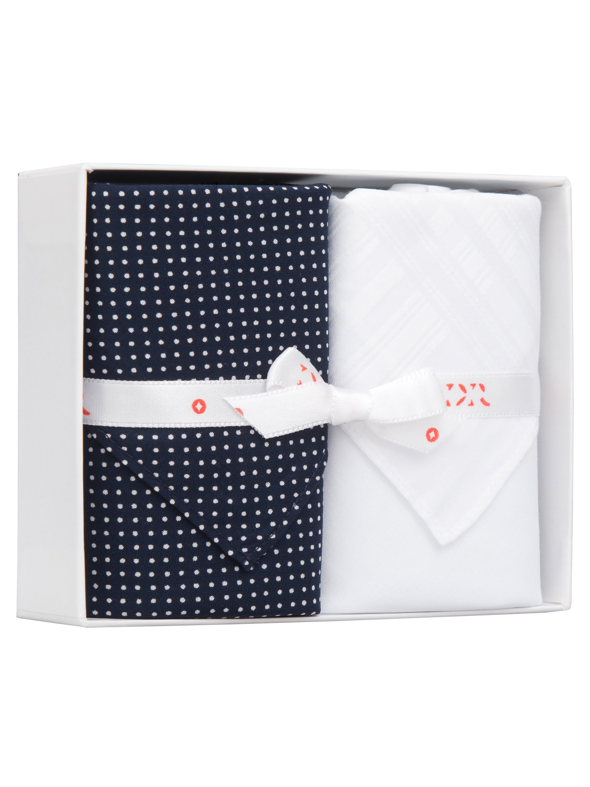 Handkerchief Set Pack 24 Cotton Polka Dot Navy & White Fleur De Lis