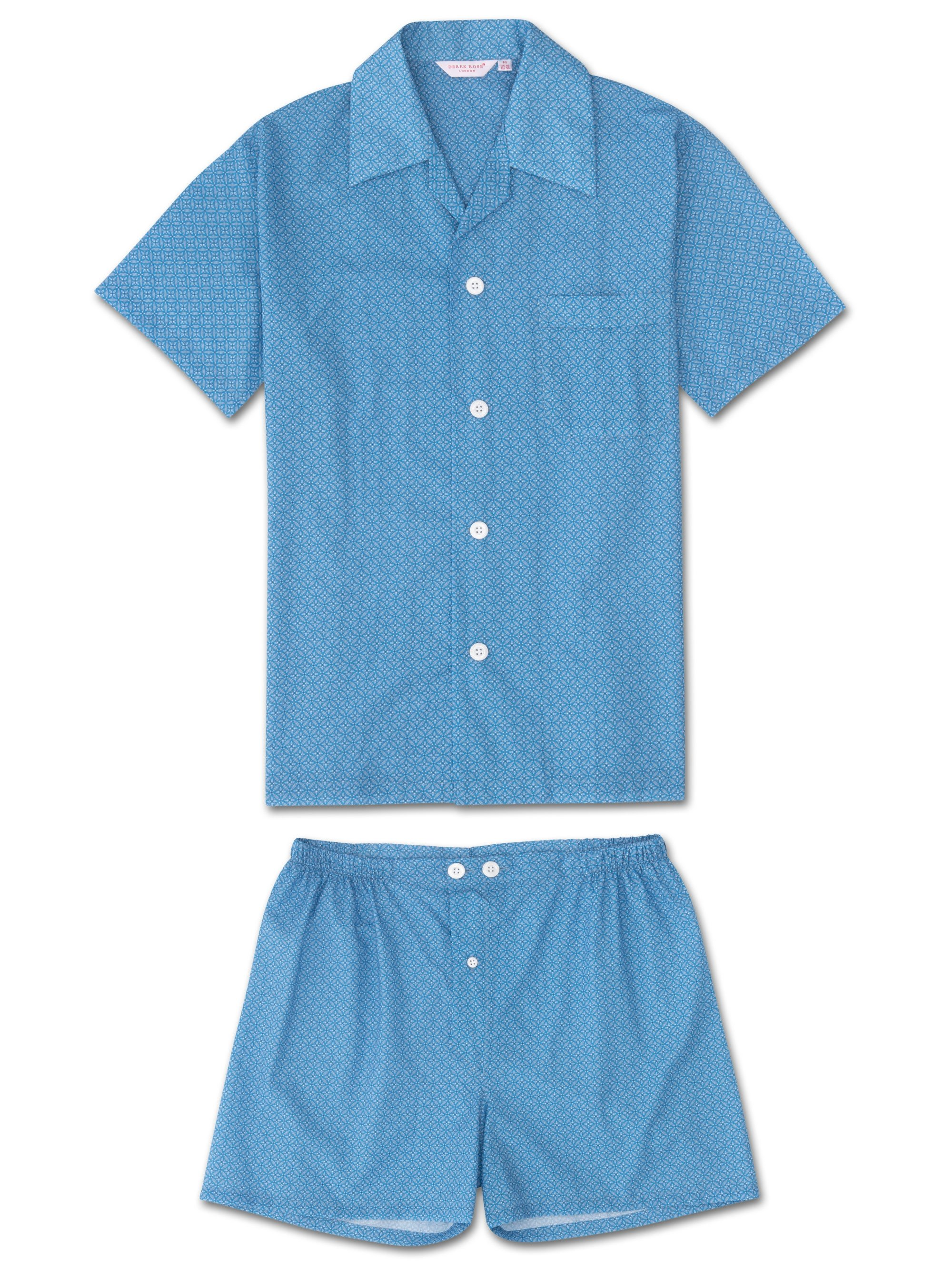 Men's Short Pyjamas Ledbury 21 Cotton Batiste Blue