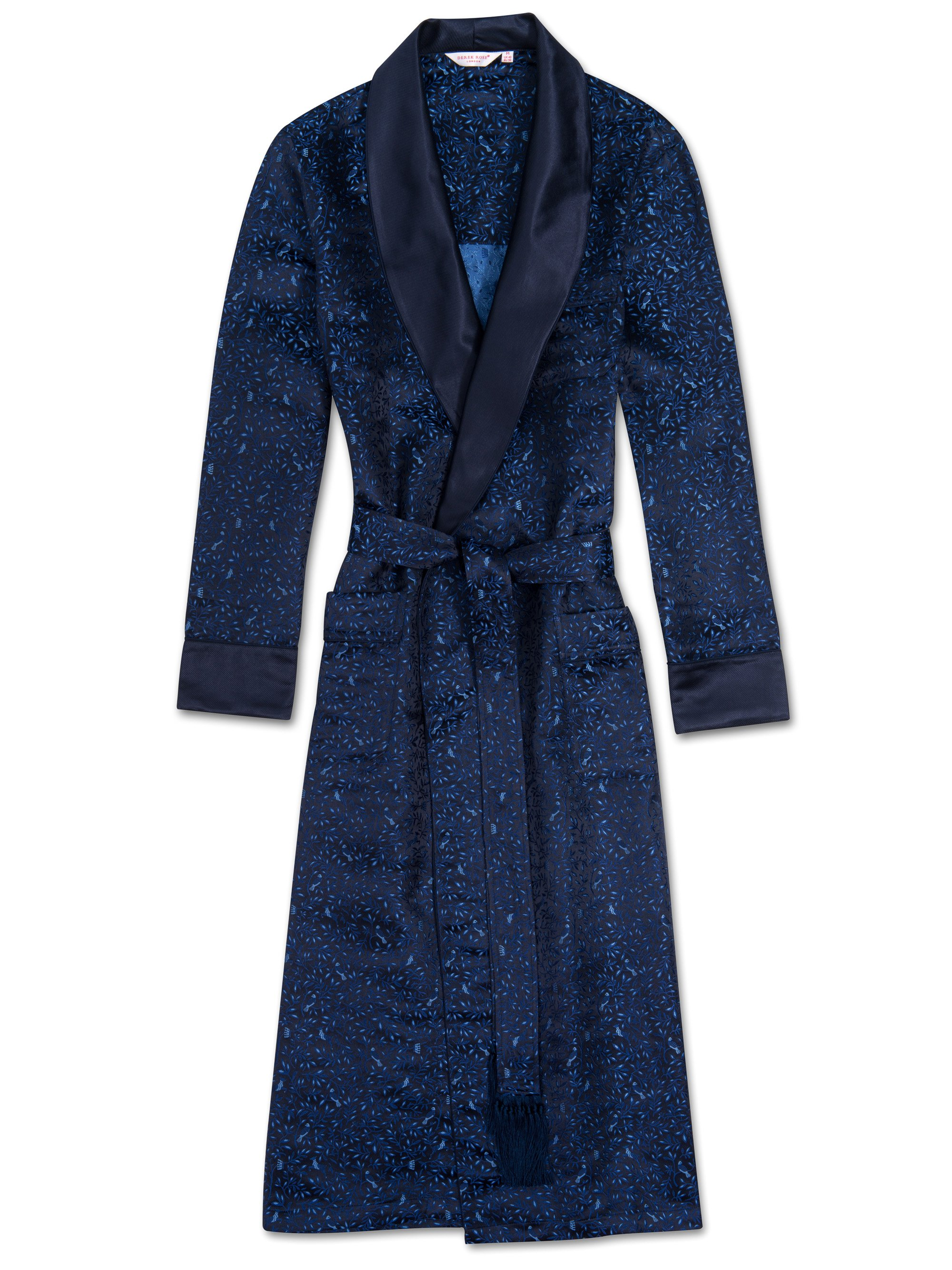 Men's Tasseled Belt Dressing Gown Verona 33 Pure Silk Blue