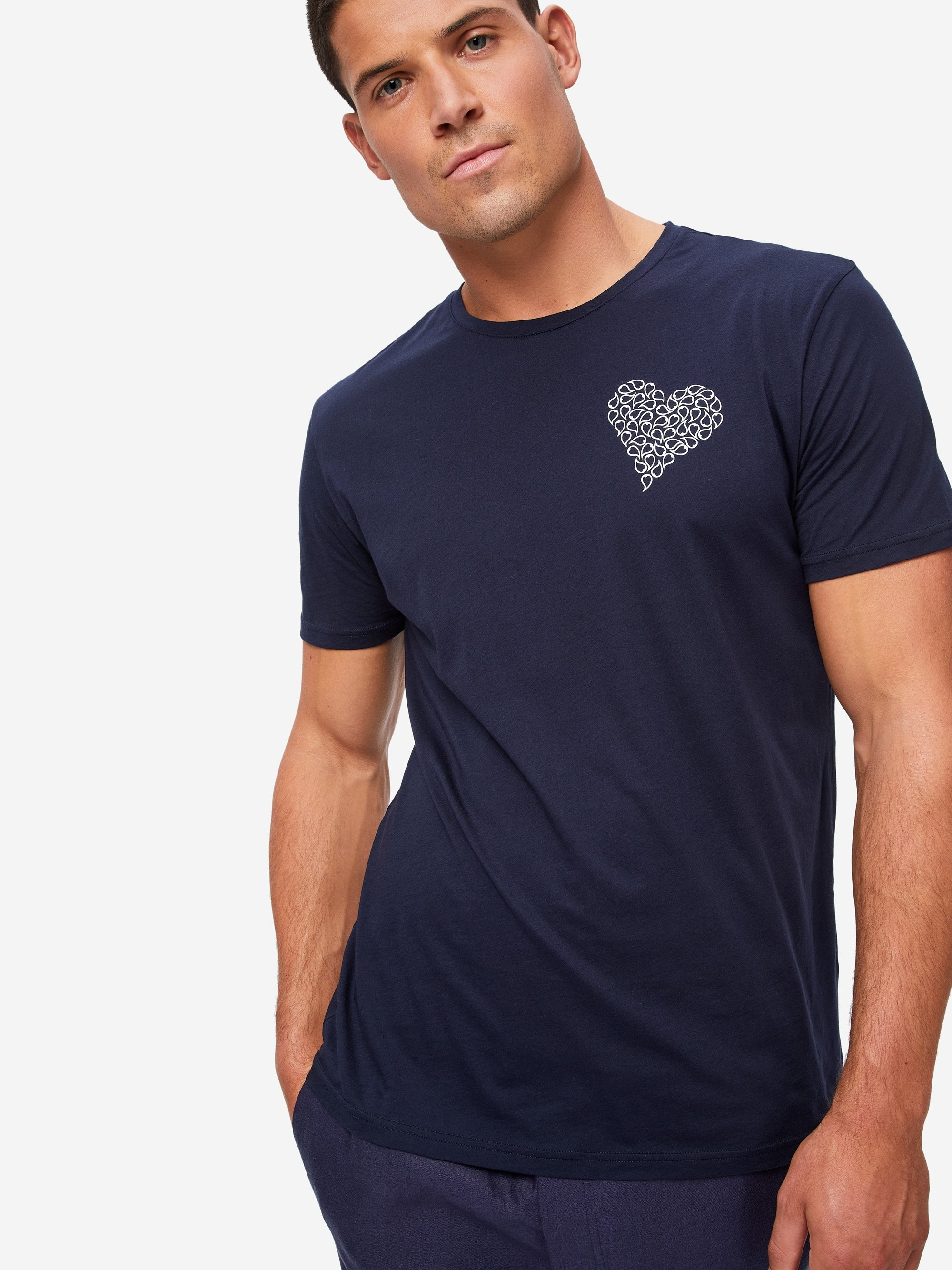 Men's Short Sleeve T-Shirt Ripley 3 Pima Cotton Navy