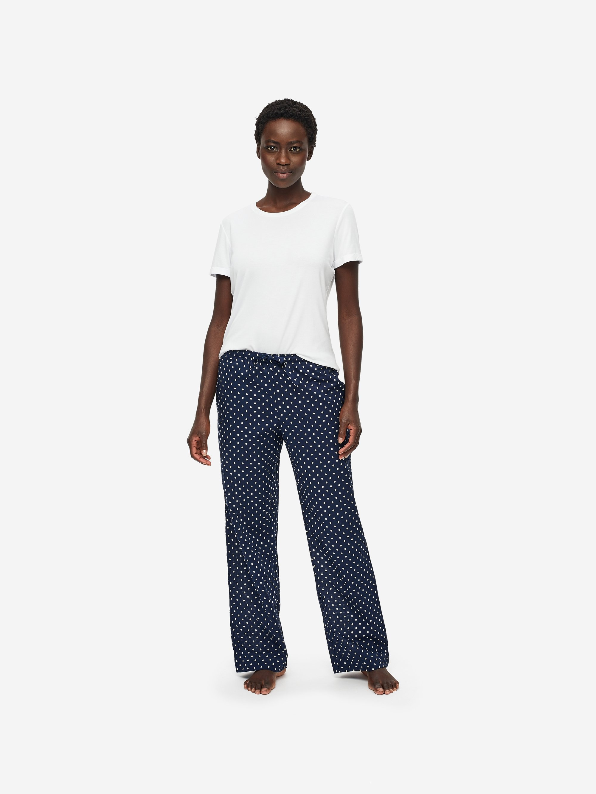 Women's Lounge Trousers Plaza 60 Cotton Batiste Navy