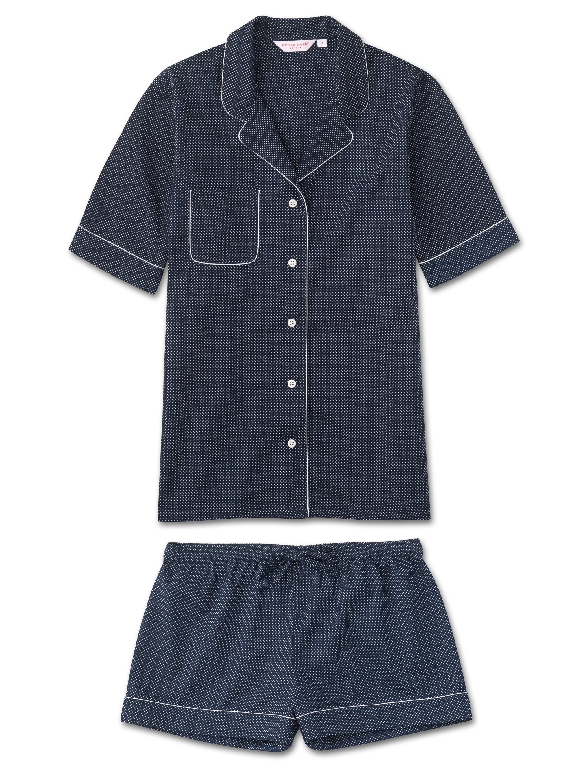 Women's Shortie Pyjamas Plaza 21 Cotton Batiste Navy