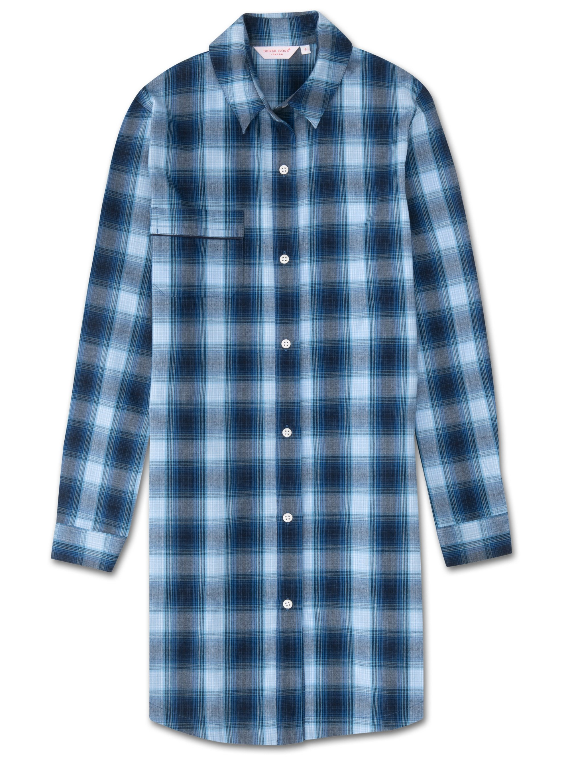 Women's Nightshirt Ranga 36 Brushed Cotton Check Blue