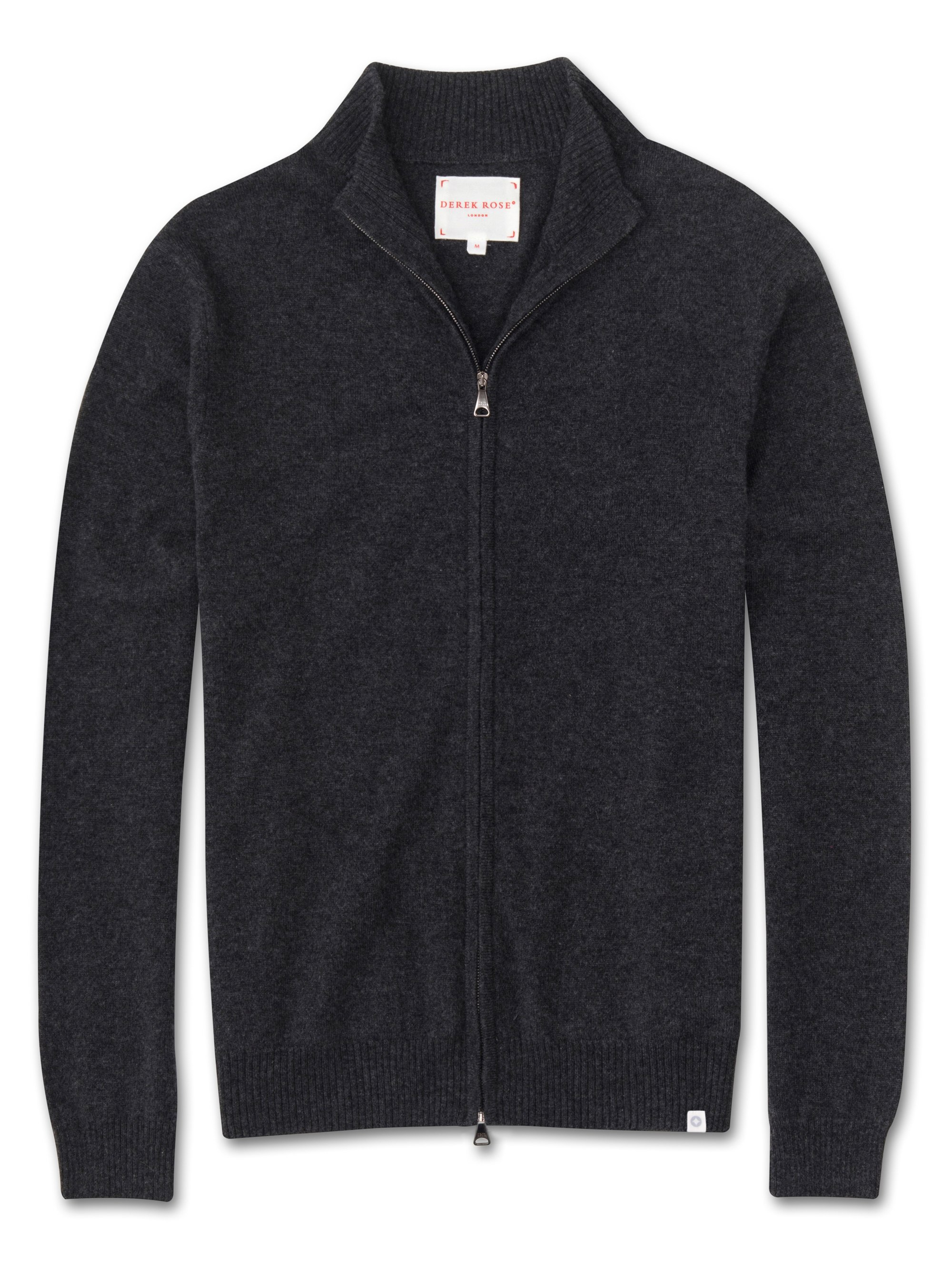 Men's Cashmere Zip-Up Top Finley Pure Cashmere Charcoal