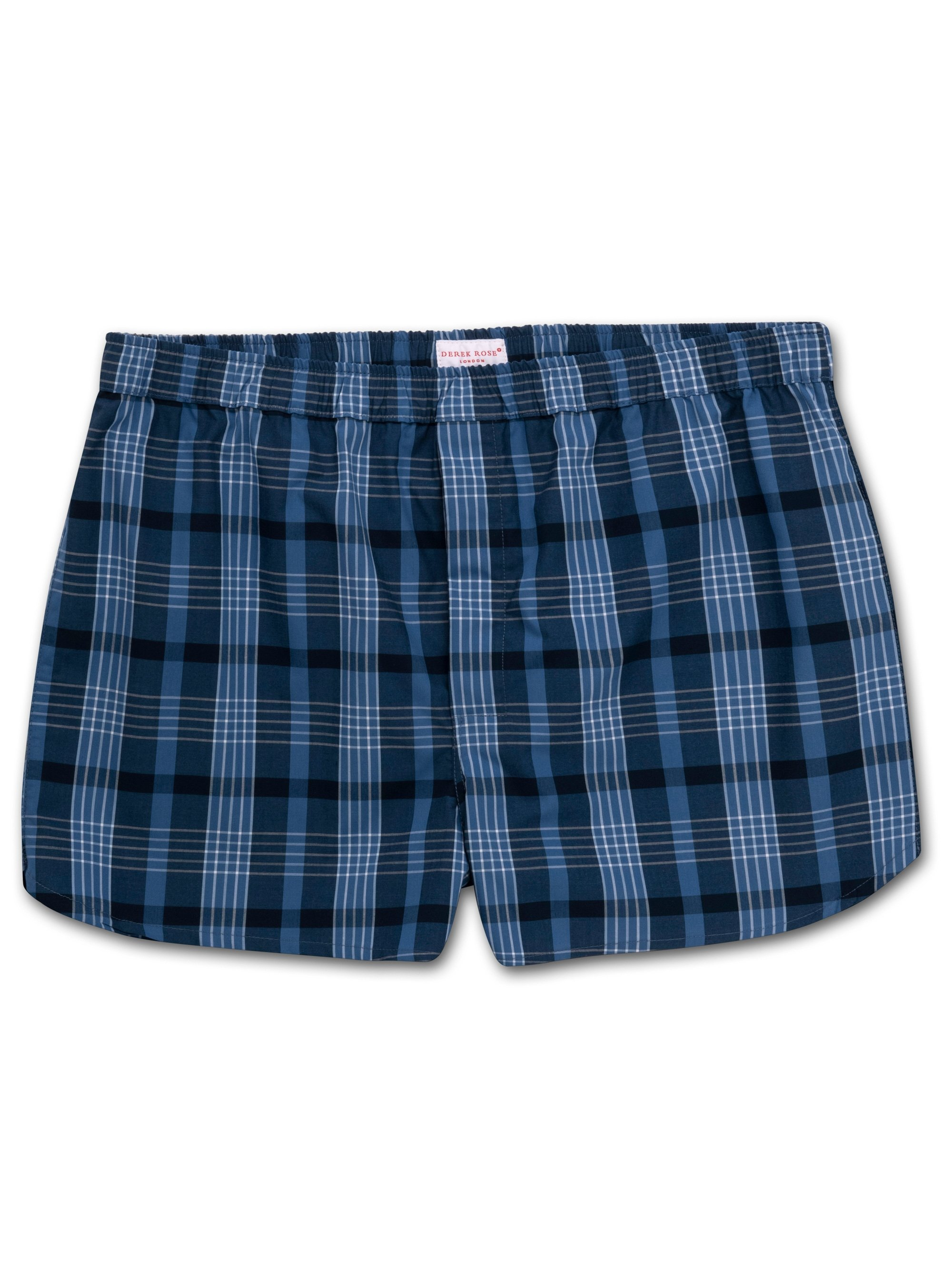 Men's Modern Fit Boxer Shorts Barker 28 Cotton Check Blue