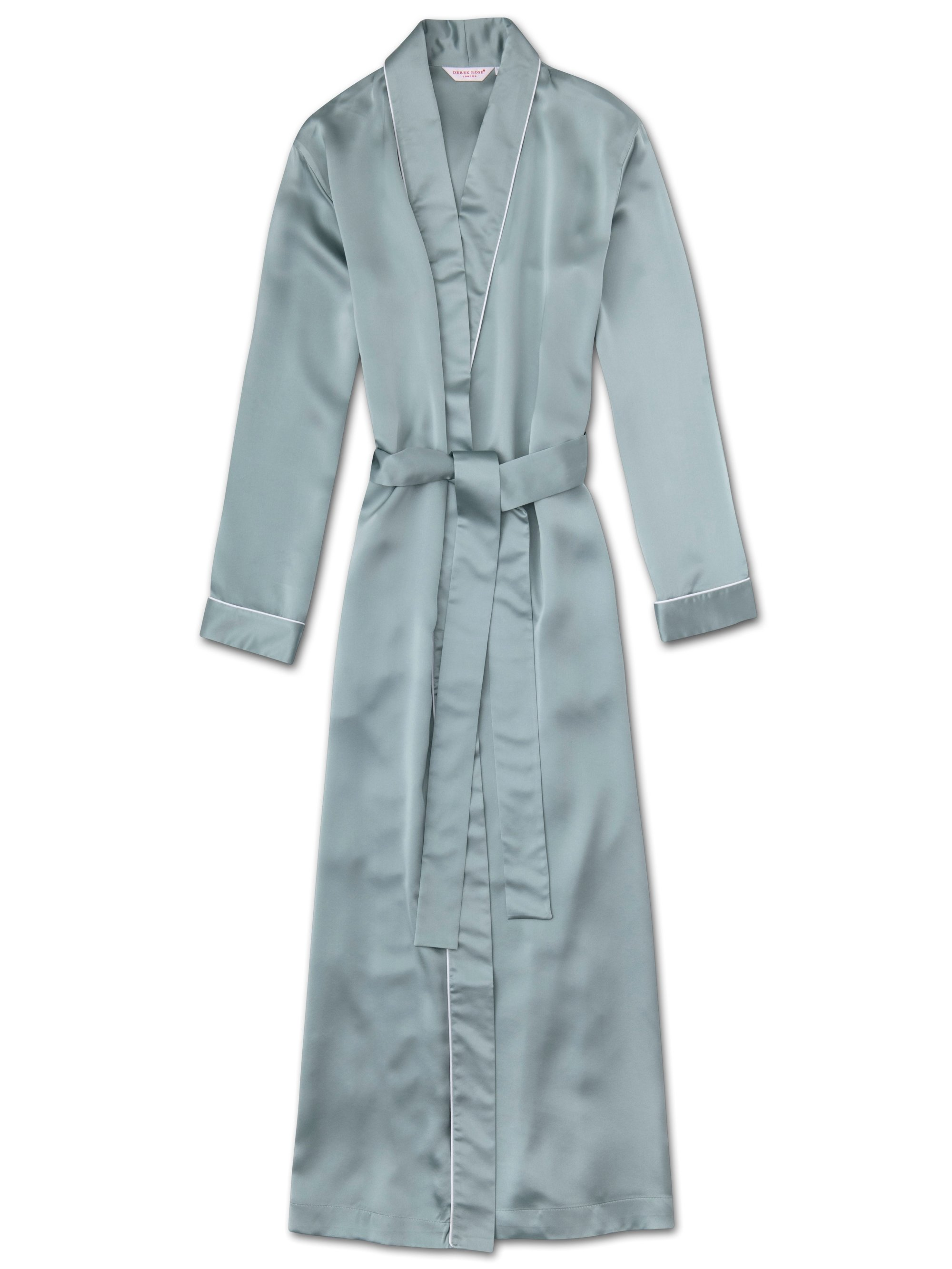 Women's Full Length Dressing Gown Bailey Pure Silk Satin Blue