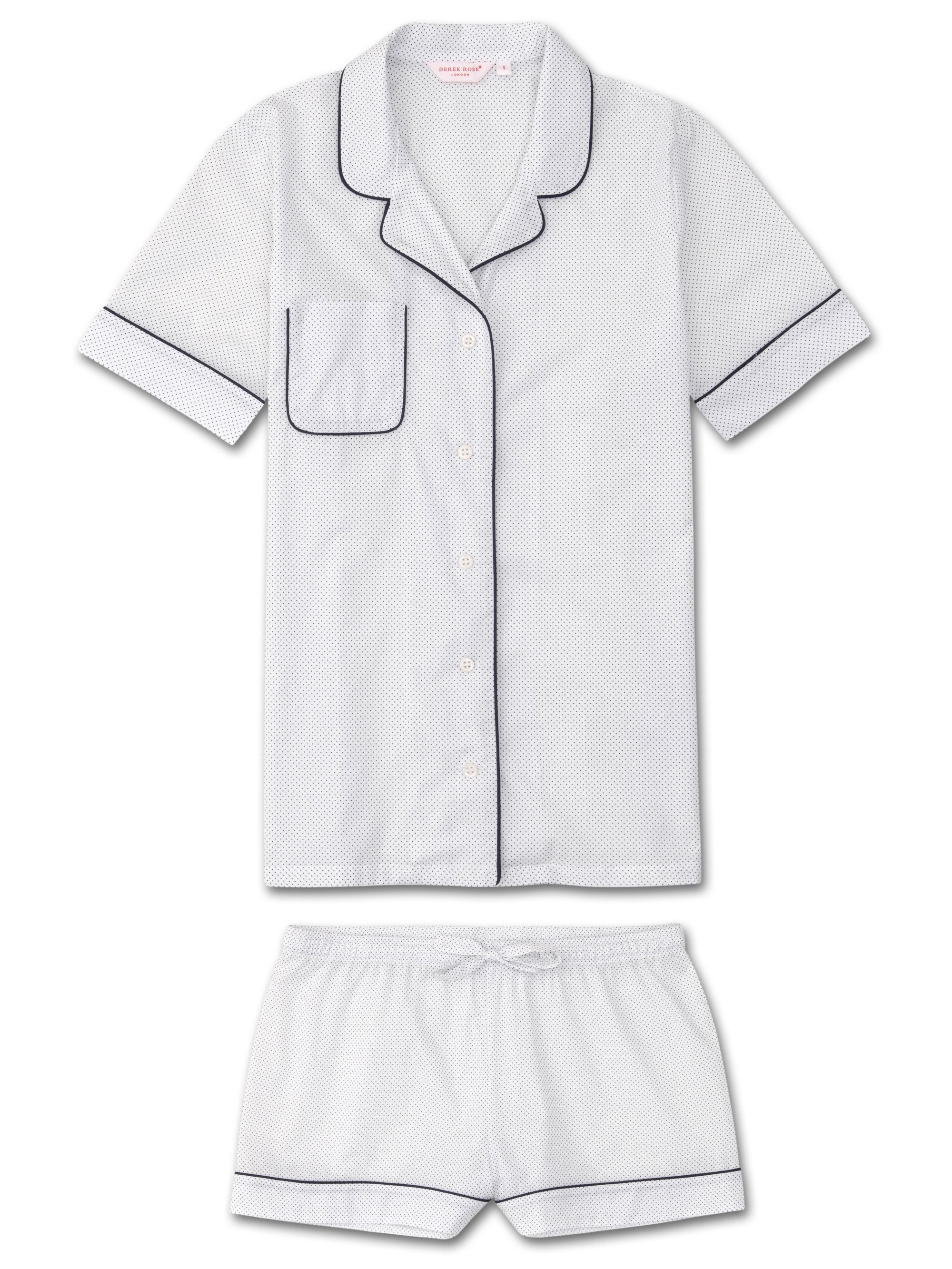 Women's Shortie Pyjamas Plaza 21 Cotton Batiste White