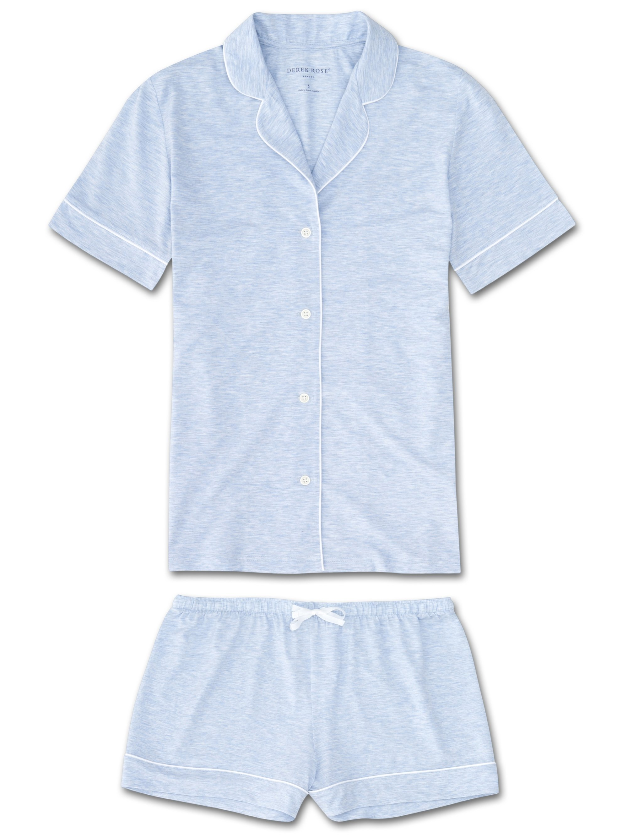 Women's Jersey Shortie Pyjamas Ethan Micro Modal Stretch Blue