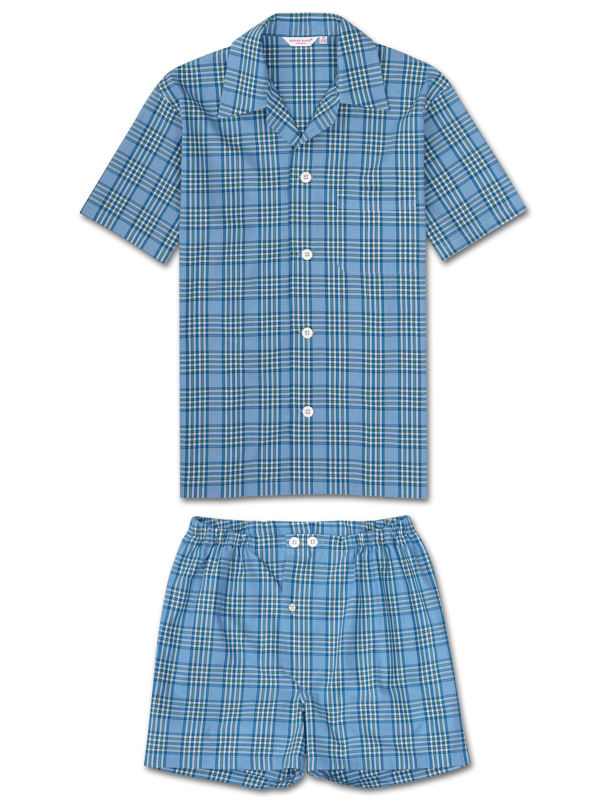 Men's Short Pyjamas Barker 7 Cotton Check Blue