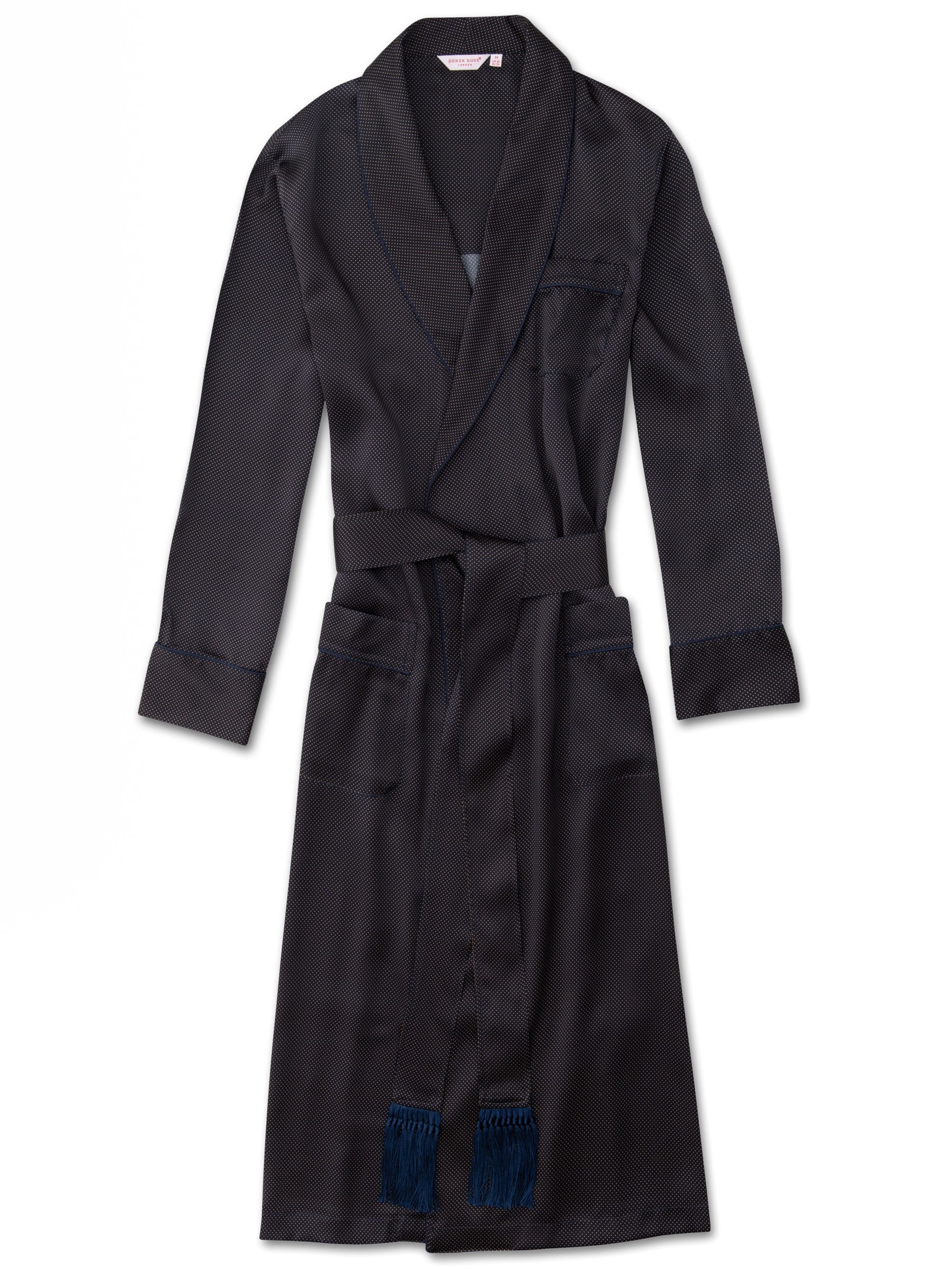 Men's Tasseled Belt Dressing Gown Brindisi 45 Pure Silk Satin Navy