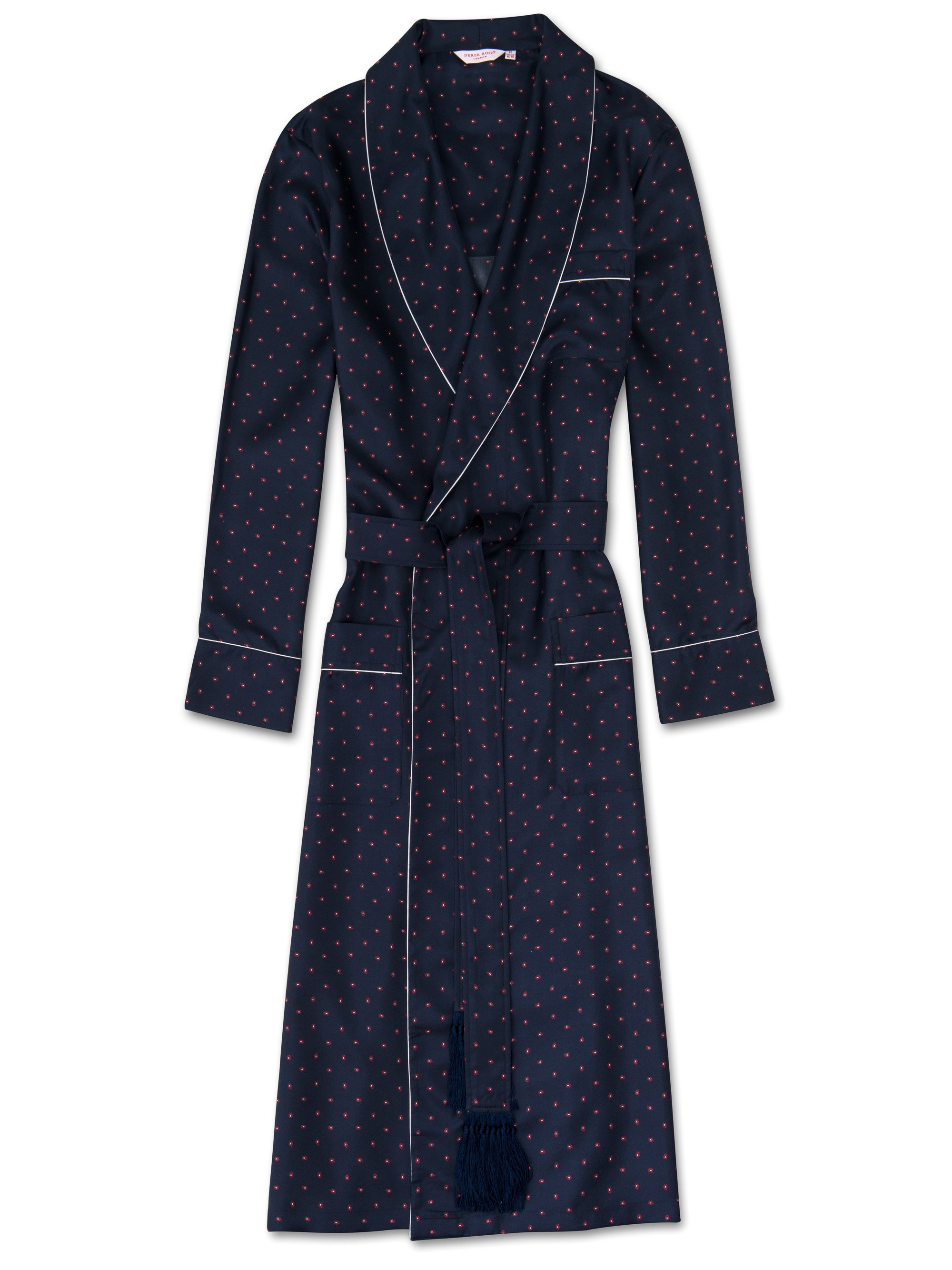 Men's Tasseled Belt Dressing Gown Otis 10 Pure Silk Navy