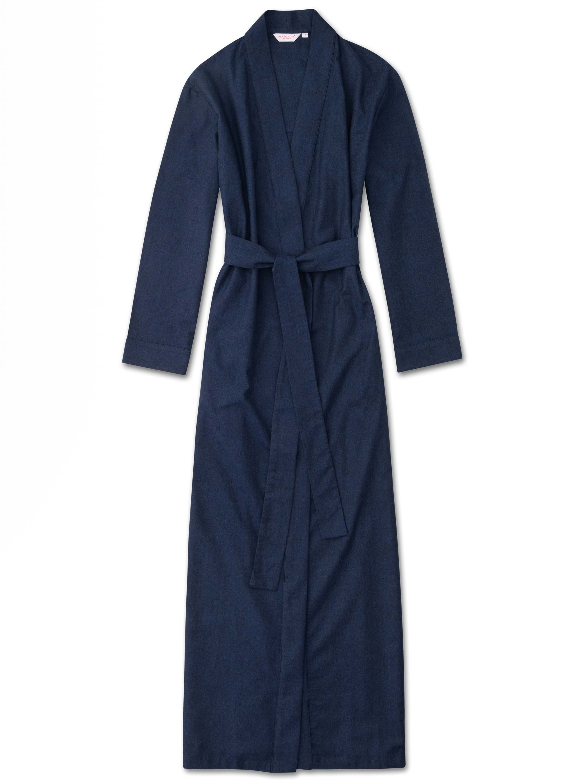 Women's Full Length Dressing Gown Balmoral 3 Brushed Cotton Navy