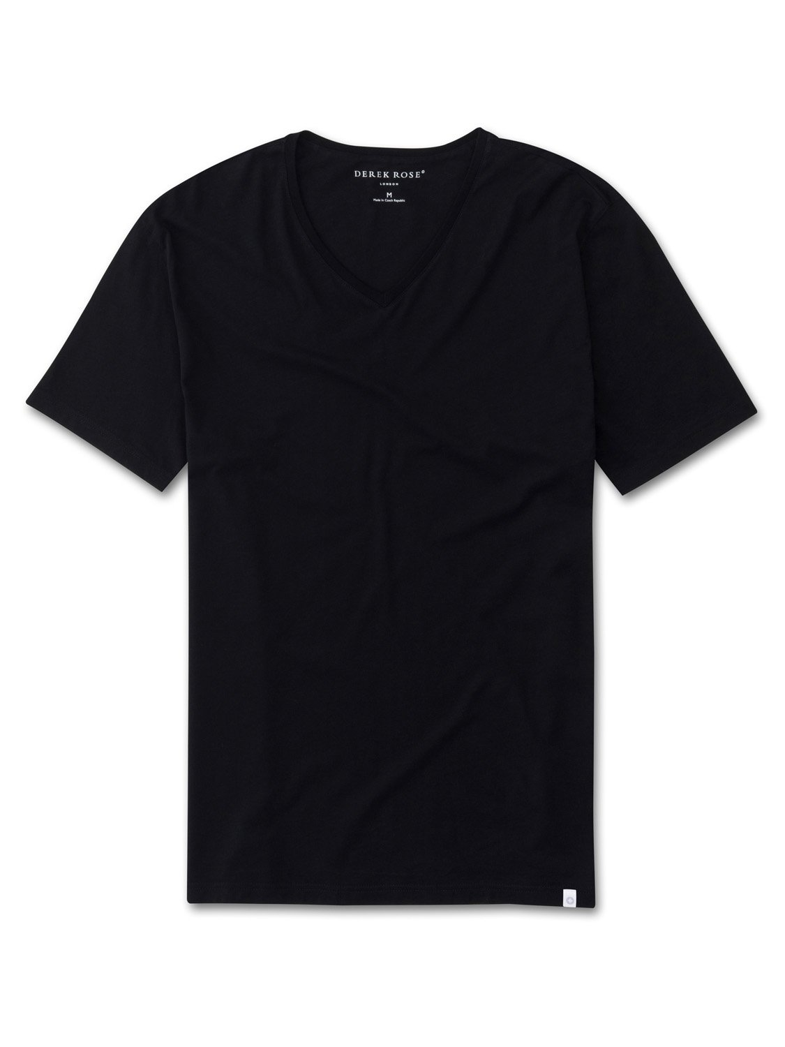 Men's Short Sleeve V-Neck T-Shirt Riley Pima Cotton Black